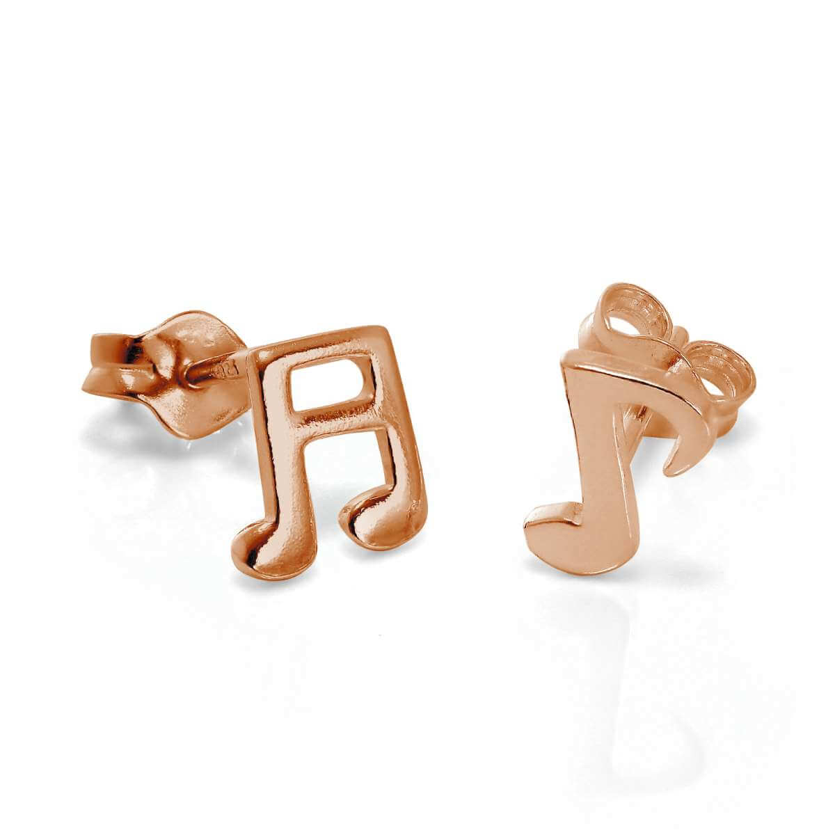 Rose Gold Plated Sterling Silver Music Notes Stud Earrings