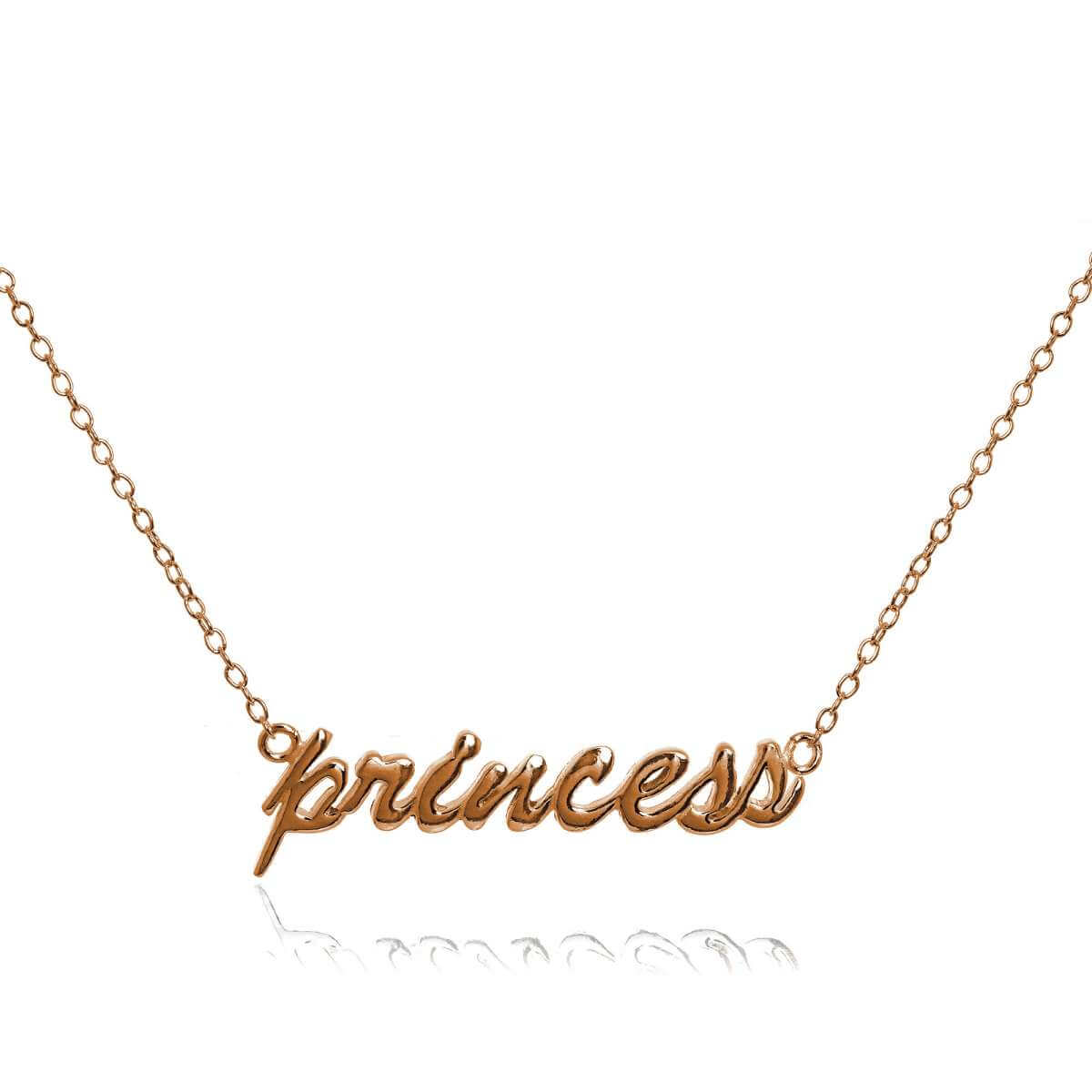 Rose Gold Plated Sterling Silver Princess Necklace 16 Inch