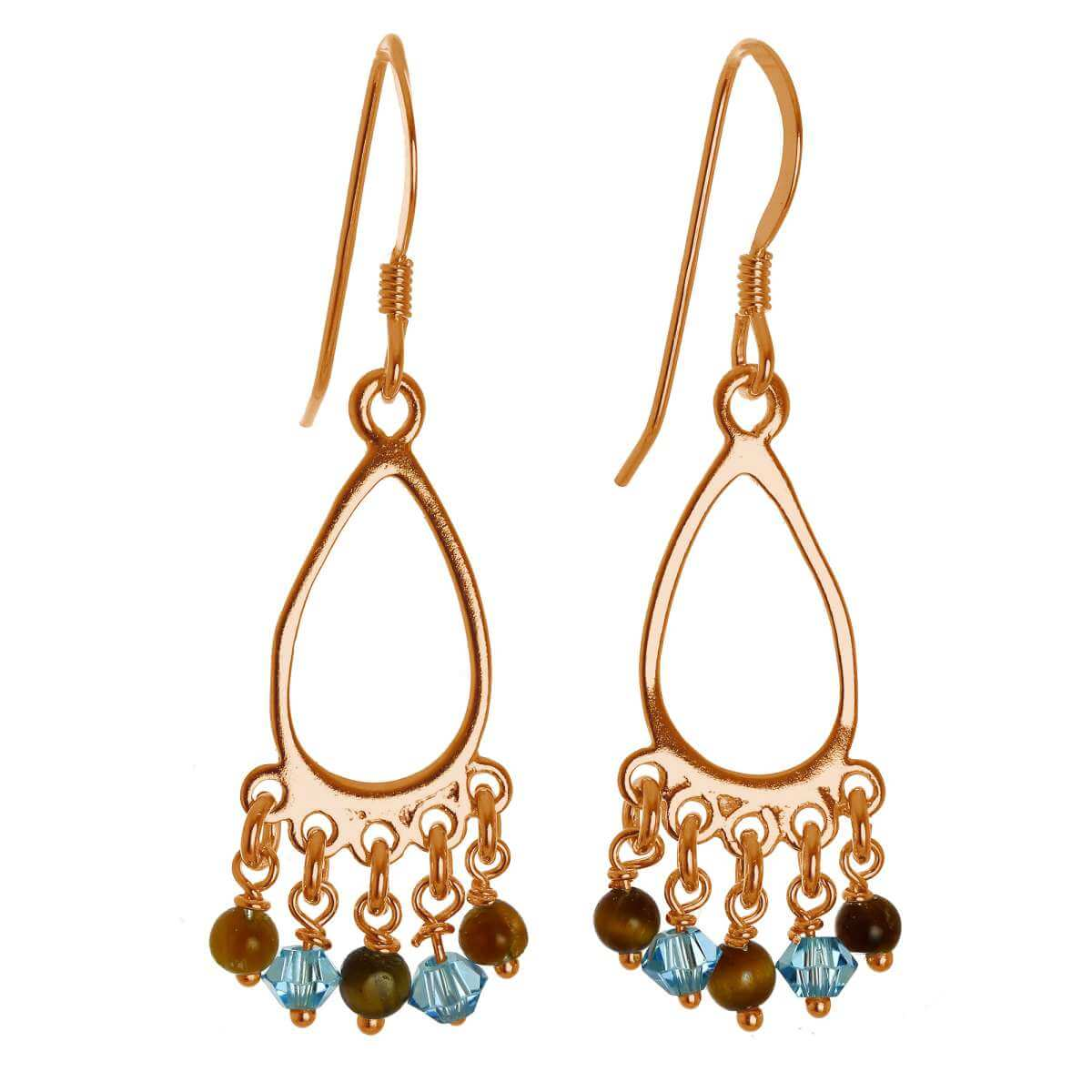 Rose Gold Plated Sterling Silver & Tiger Eye Chandelier Earrings