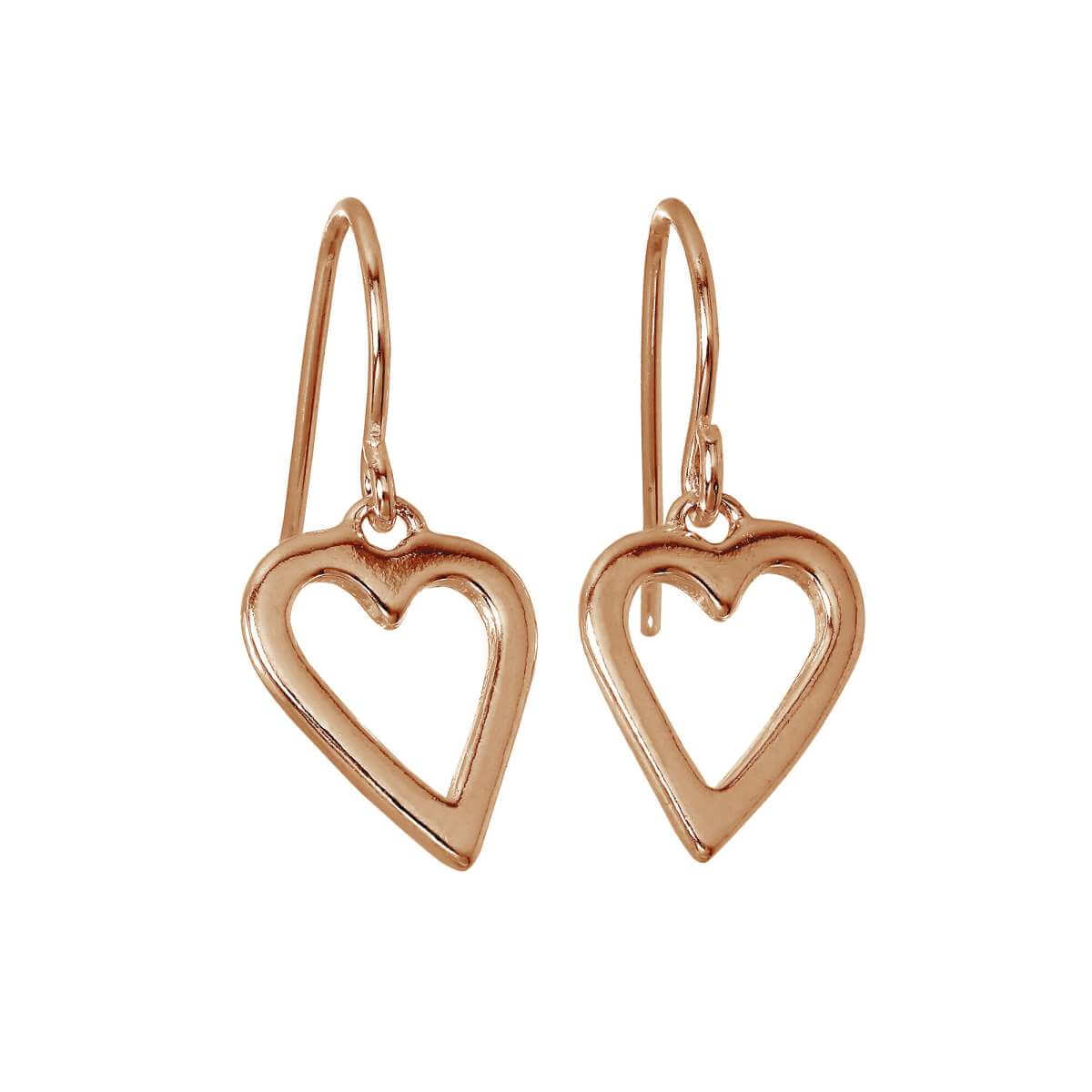 Rose Gold Plated Sterling Silver Open Heart Dangle Earrings