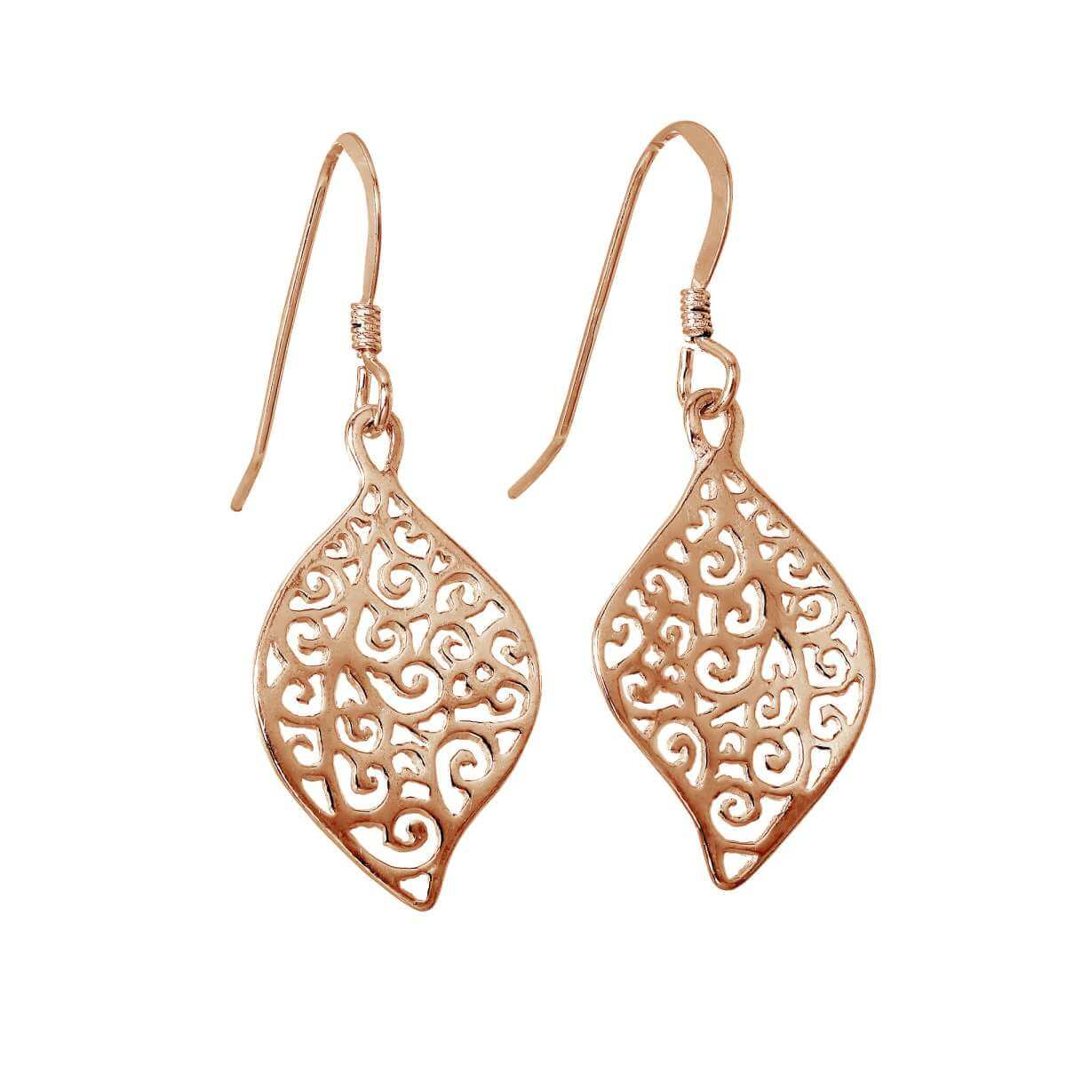 Rose Gold Plated Sterling Silver Filigree Leaf Drop Earrings