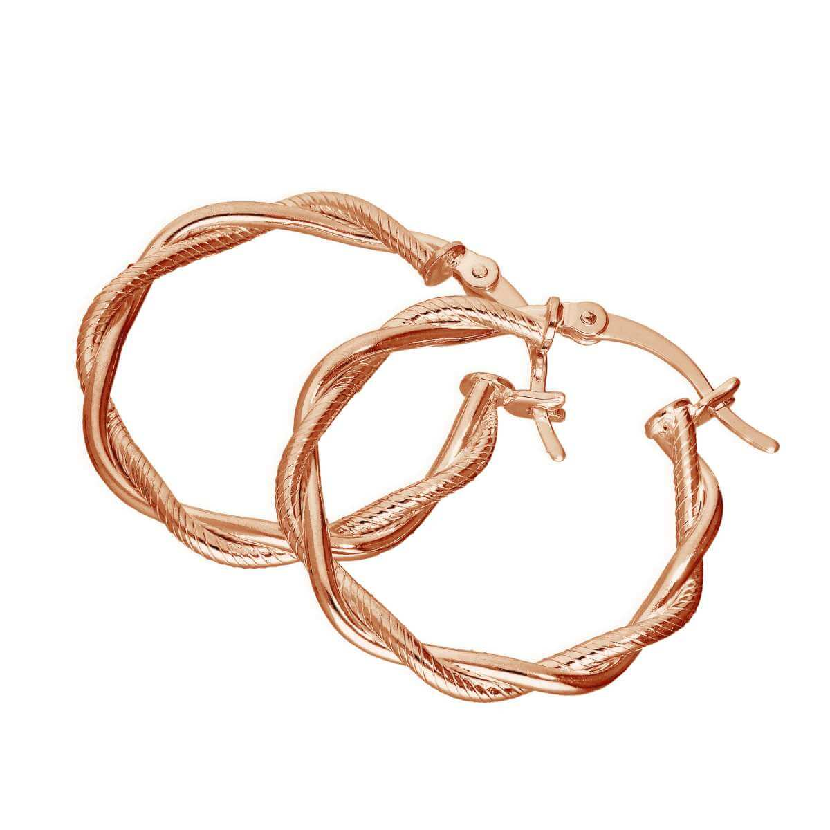 Rose Gold Plated Sterling Silver Twisted Rope Creole Hoop Earrings