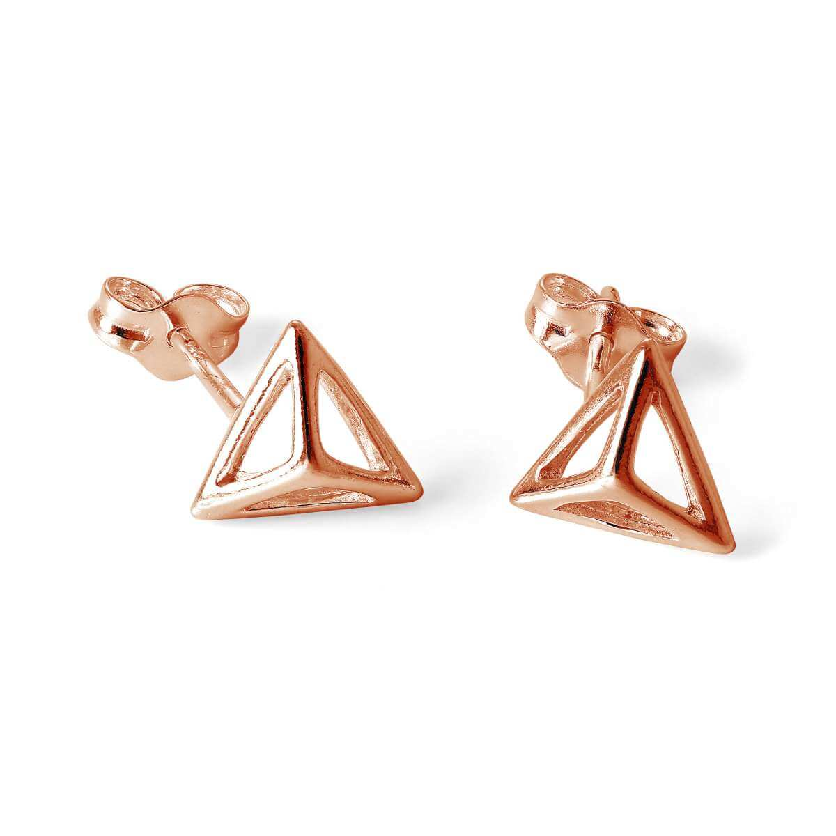 Rose Gold Plated Sterling Silver 3D Pyramid Stud Earrings