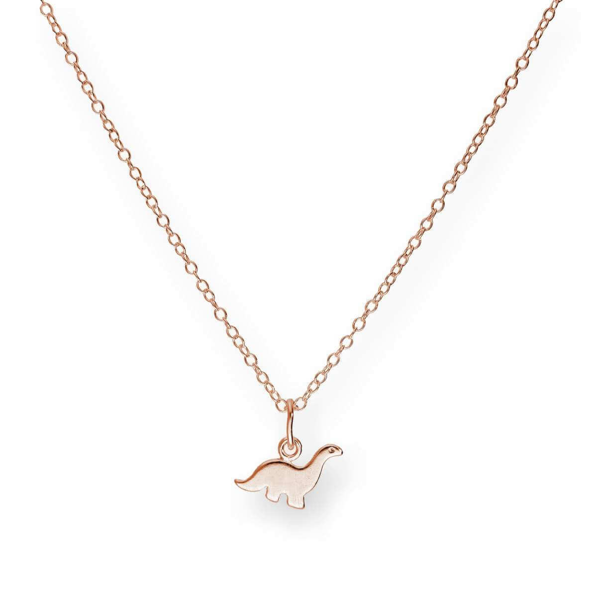 Rose Gold Plated Small Sterling Silver Dinosaur Necklace 18
