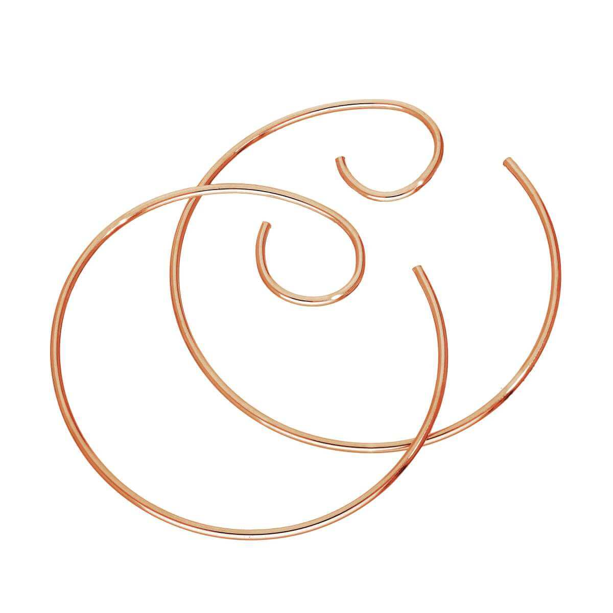 Rose Gold Plated Sterling Silver Pull Through Bar Swirl Earrings
