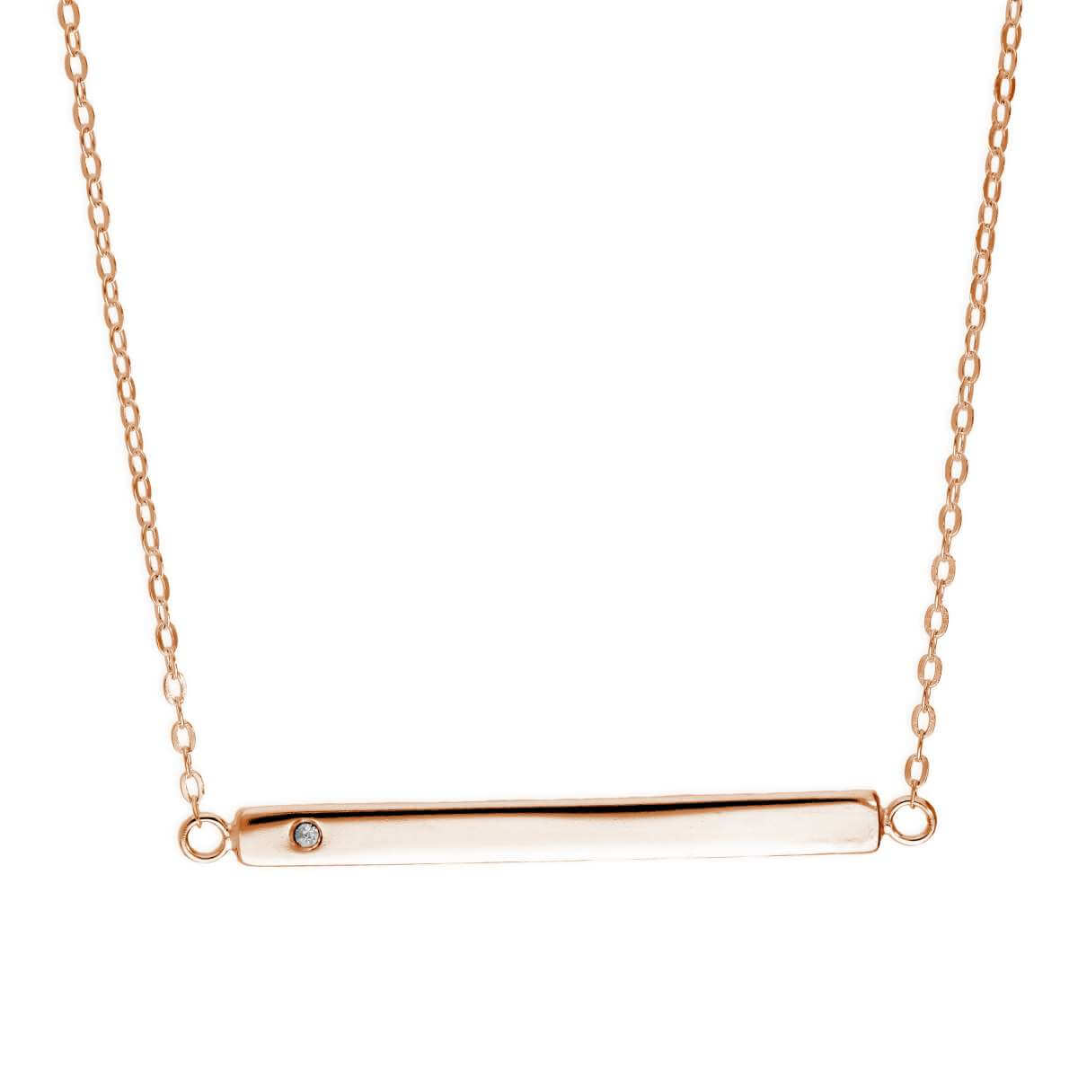 Rose Gold Plated Sterling Silver CZ Engravable Bar Necklace
