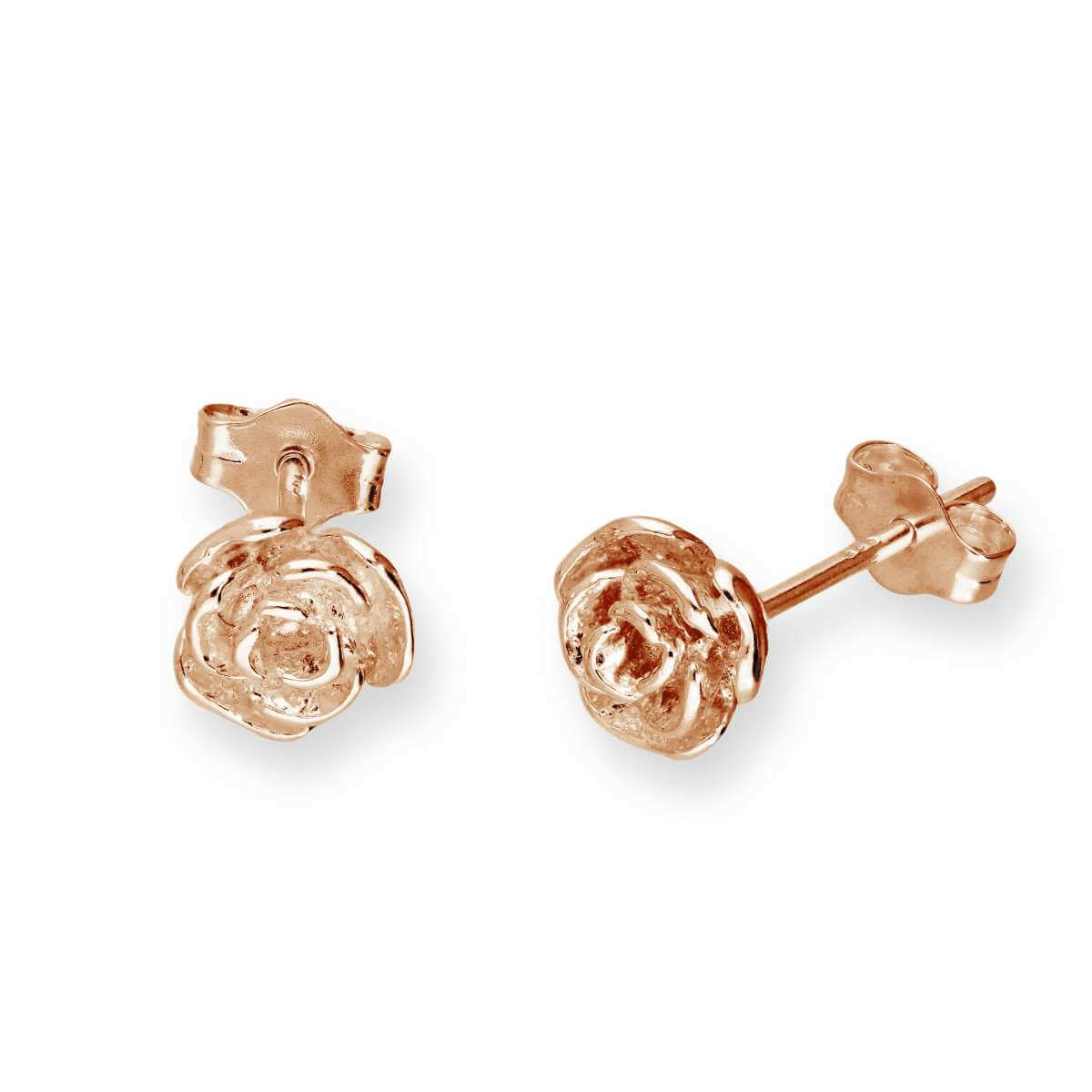 Rose Gold Plated Sterling Silver Rose Bud Stud Earrings