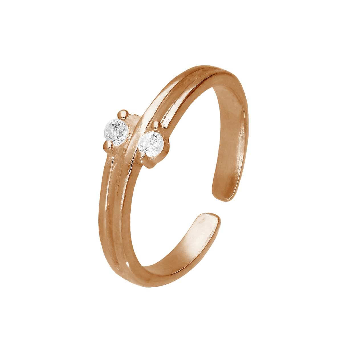Rose Gold Plated Sterling Silver & CZ Adjustable Toe Ring