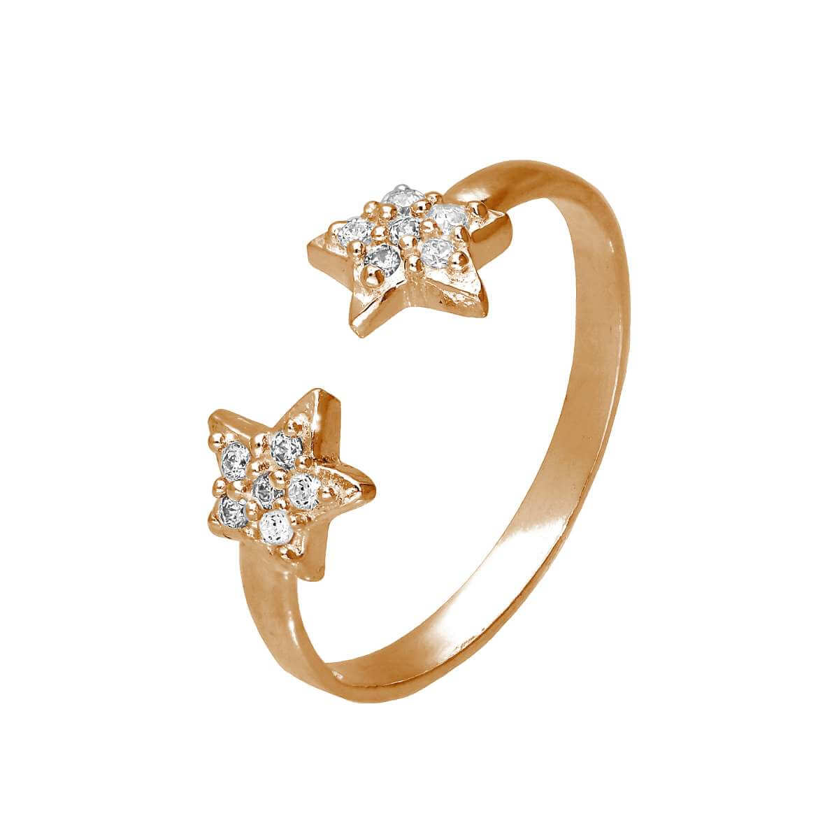 Rose Gold Plated Sterling Silver CZ Star Adjustable Toe Ring