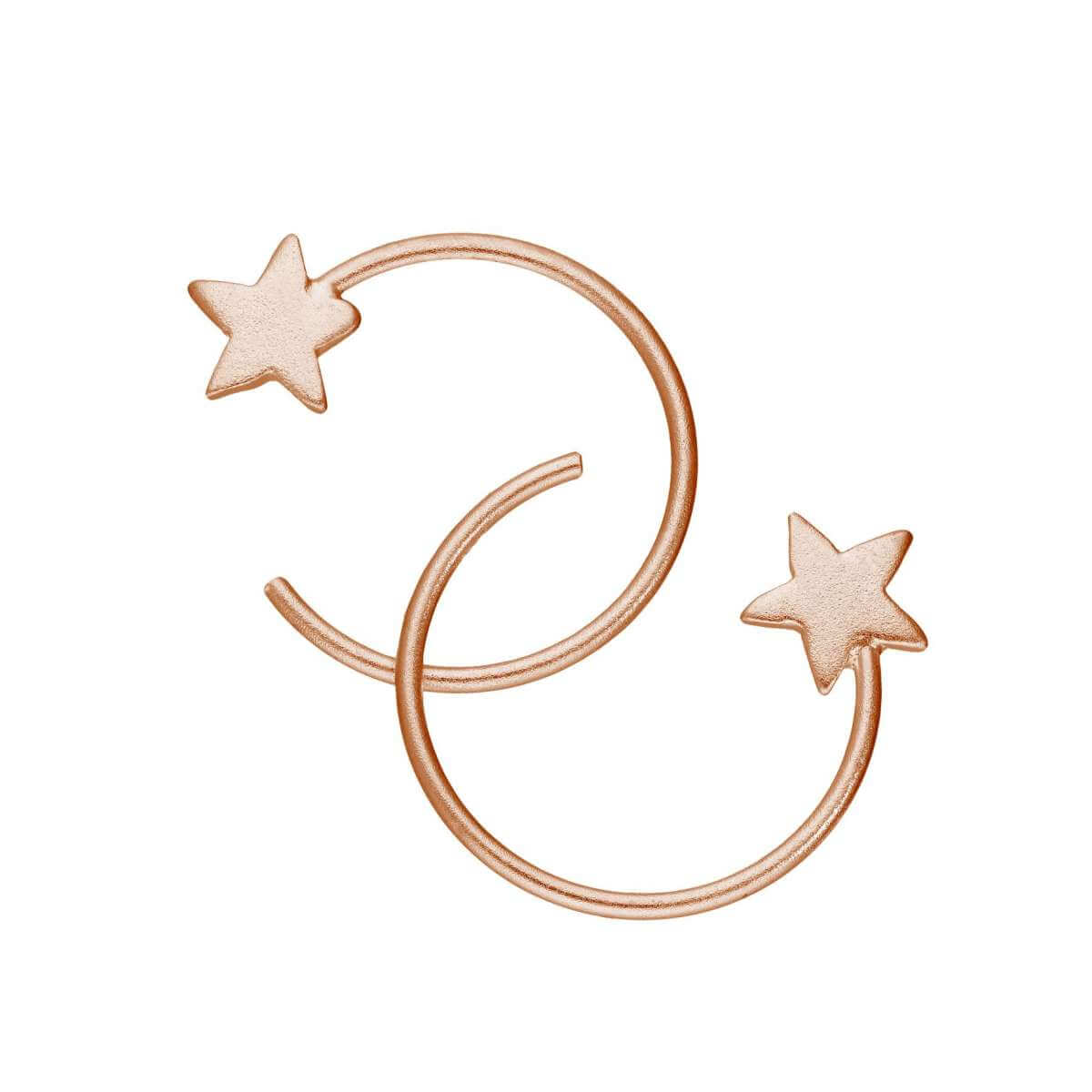 Rose Gold Plated Sterling Silver Star Pull Through Earrings