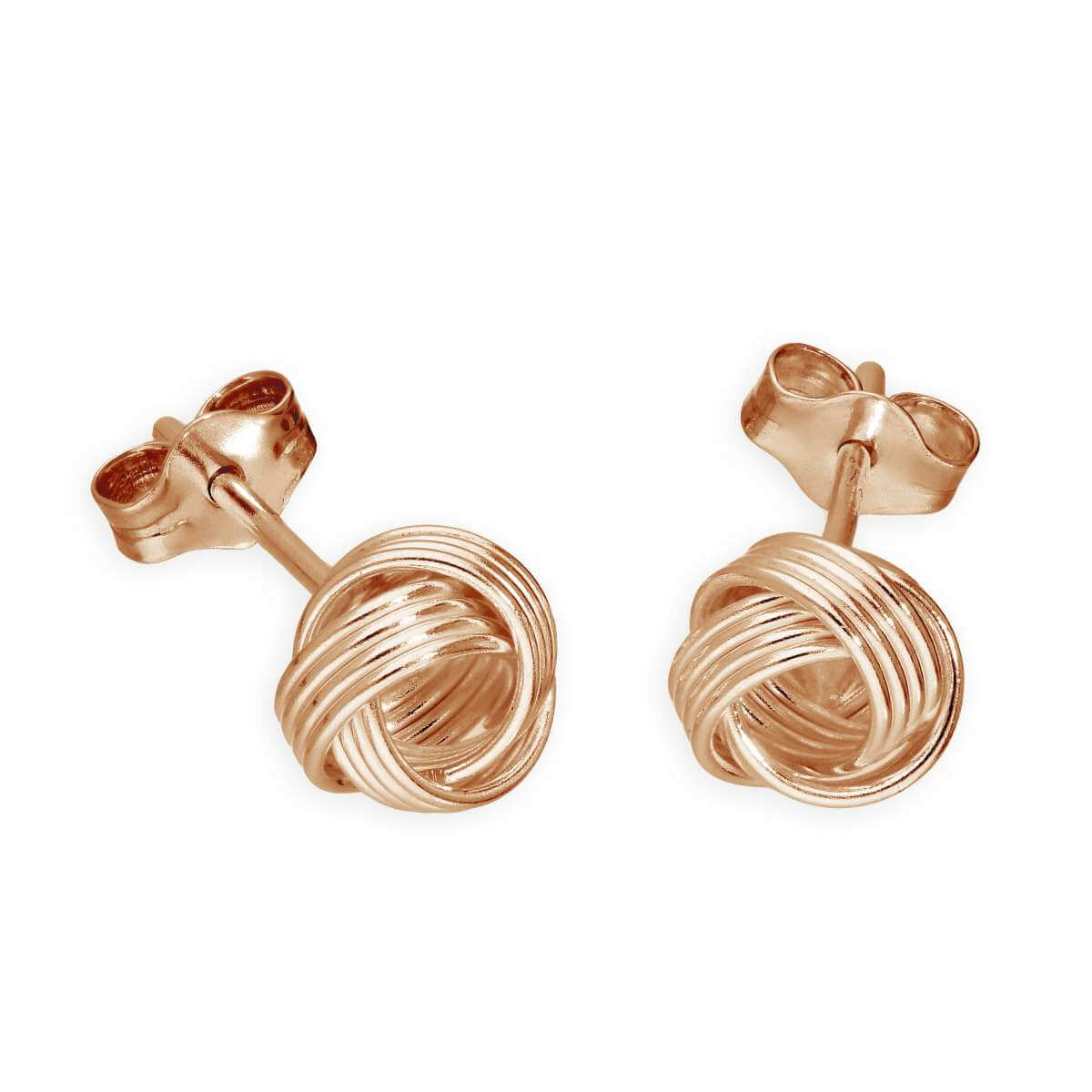 Rose Gold Plated Sterling Silver 6mm Knot Stud Earrings