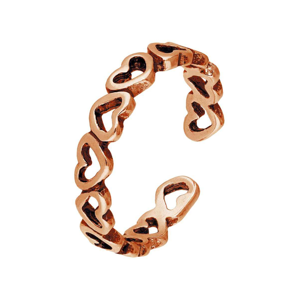 Rose Gold Plated Sterling Silver Hearts Toe Ring