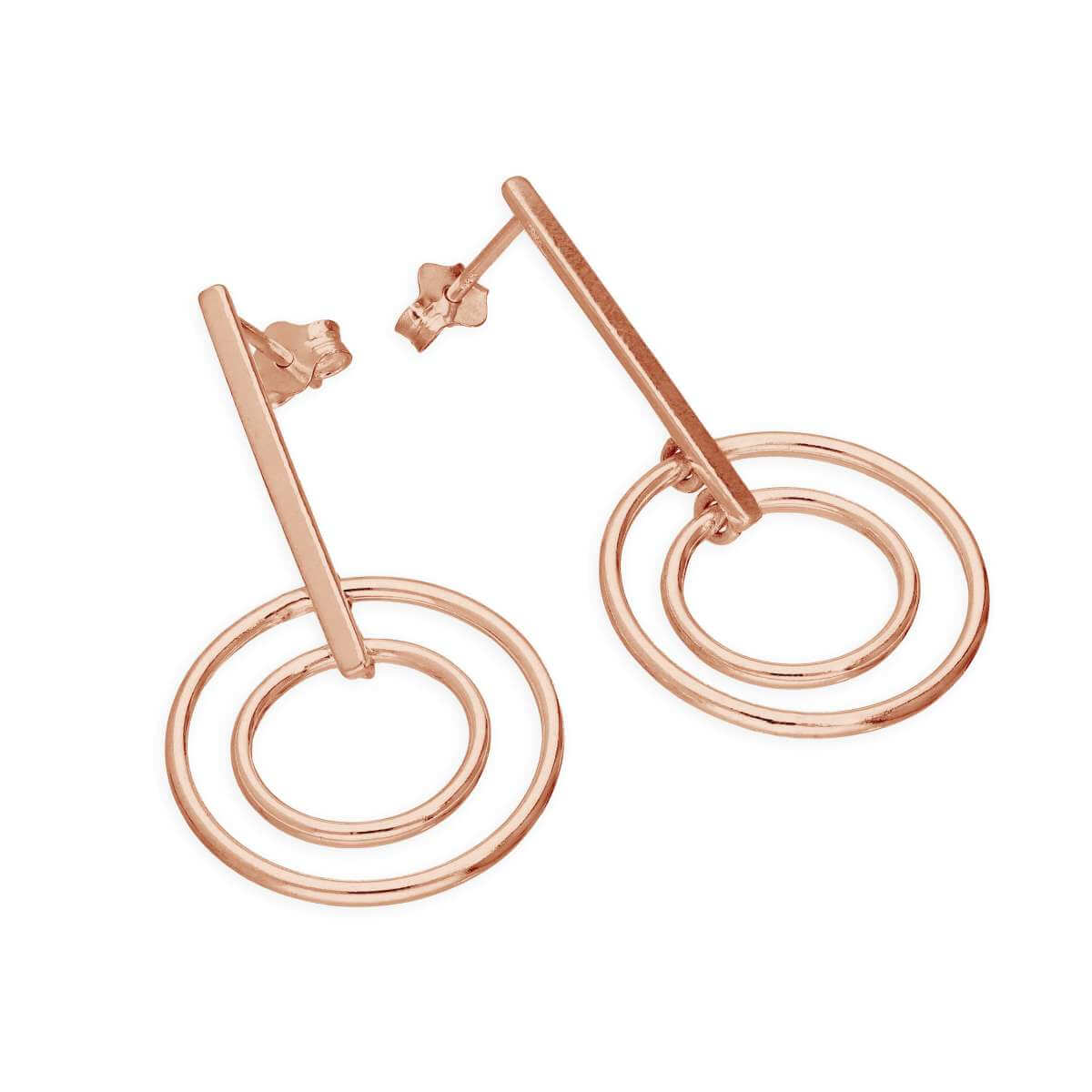 Rose Gold Plated Sterling Silver Bar & Circles Drop Stud Earrings