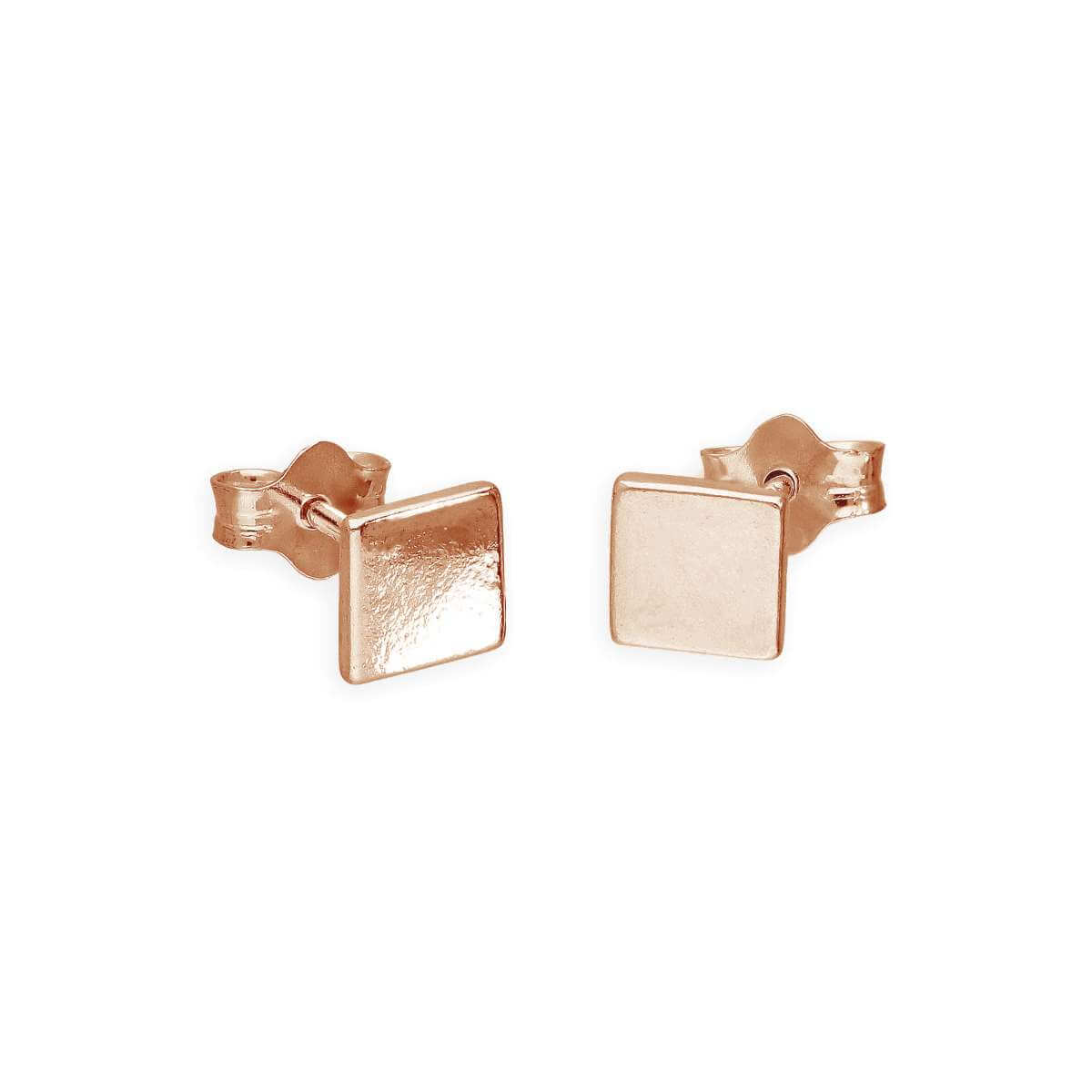 Rose Gold Plated Sterling Silver 5mm Square Stud Earrings