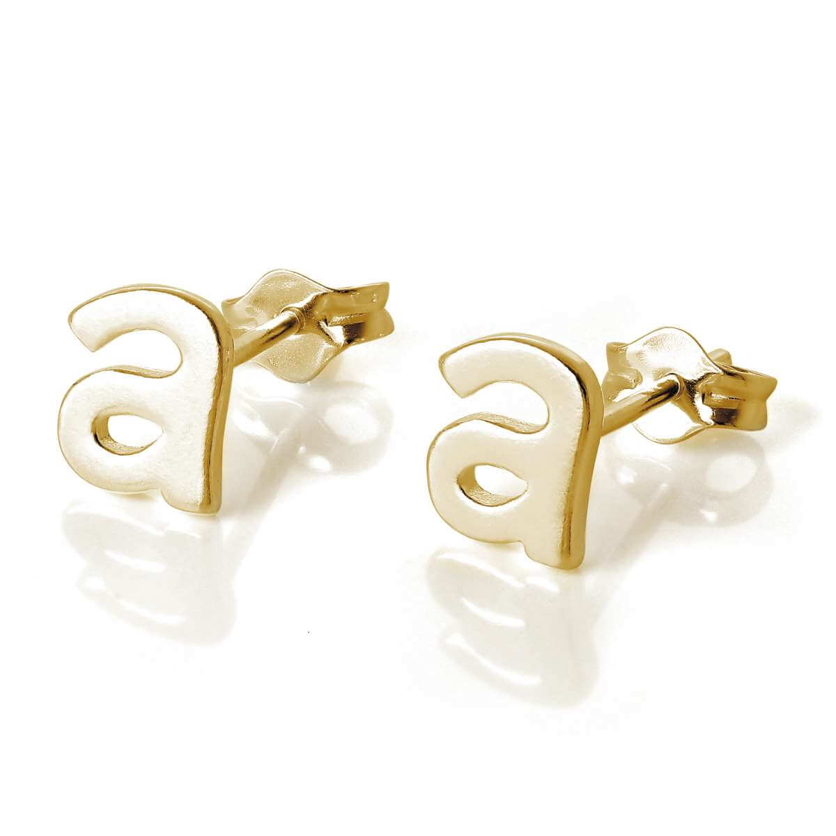 Gold Plated Sterling Silver Alphabet Letter A Stud Earrings