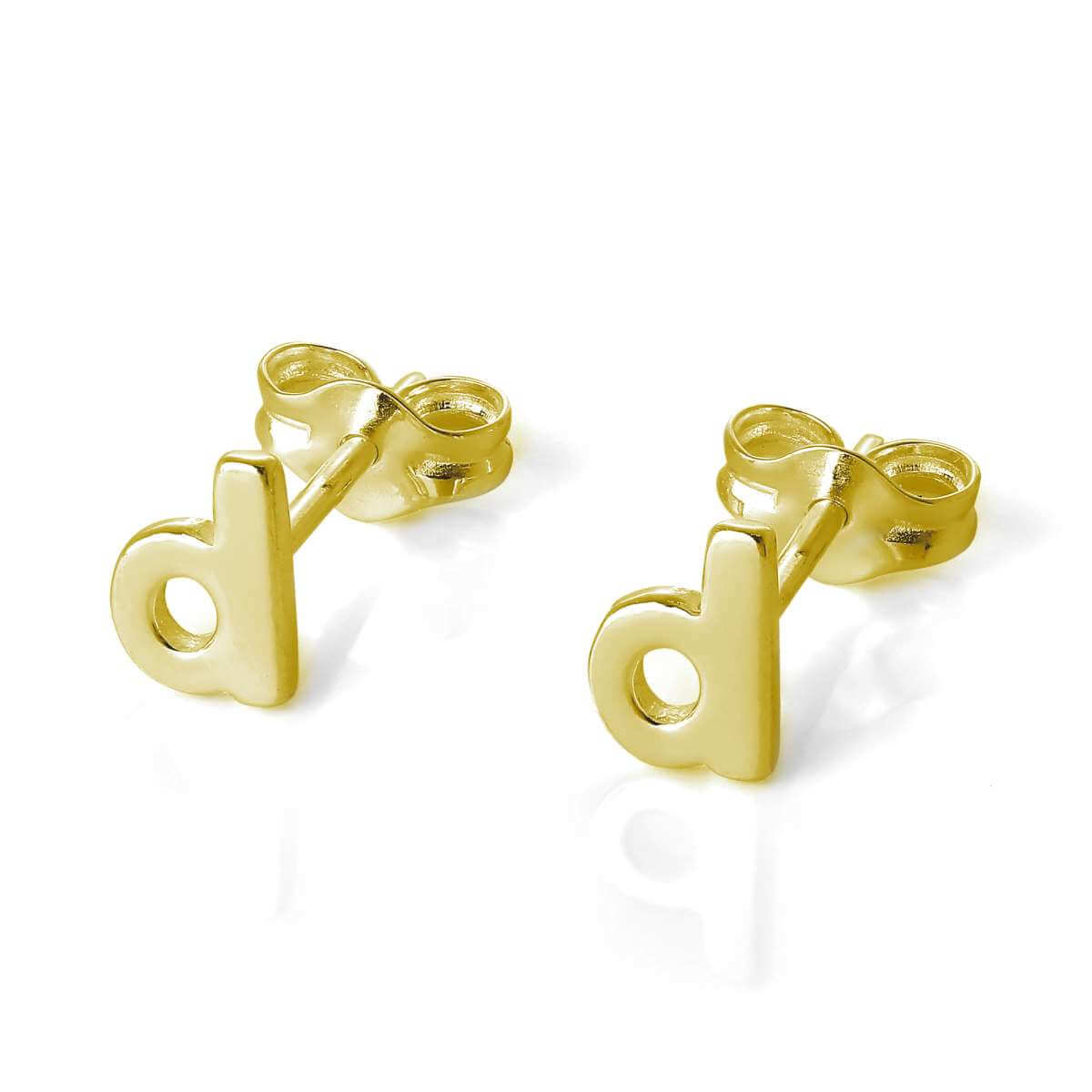 Gold Plated Sterling Silver Alphabet Letter D Stud Earrings