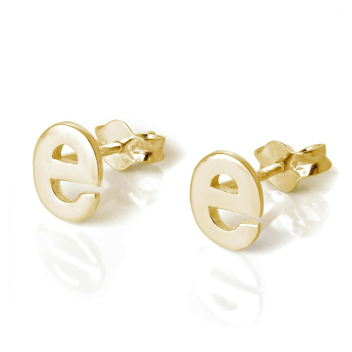 Gold Plated Sterling Silver Alphabet Letter E Stud Earrings