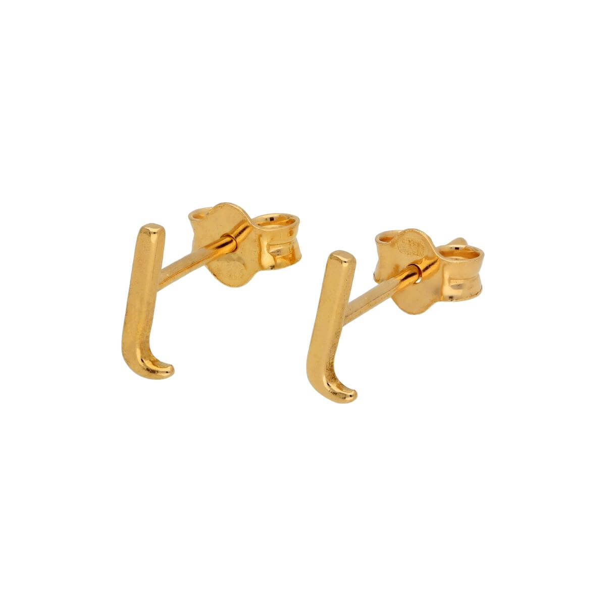 Gold Plated Sterling Silver Alphabet Letter L Stud Earrings