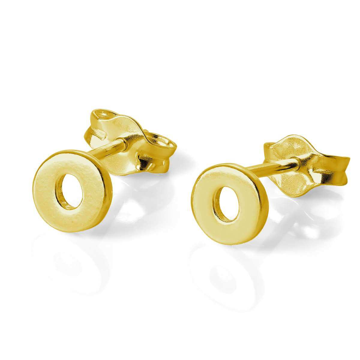 Gold Plated Sterling Silver Alphabet Letter O Stud Earrings