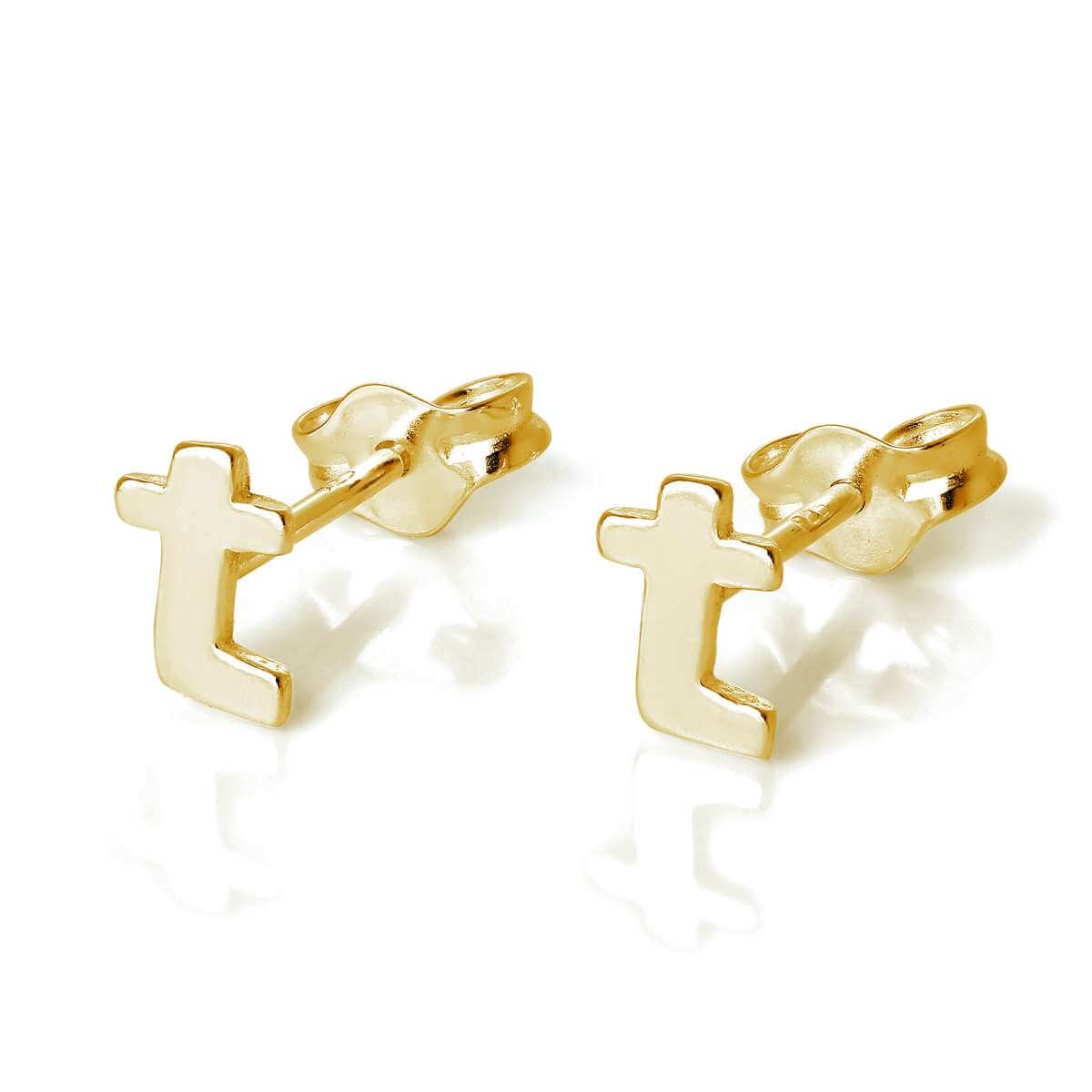 Gold Plated Sterling Silver Alphabet Letter T Stud Earrings