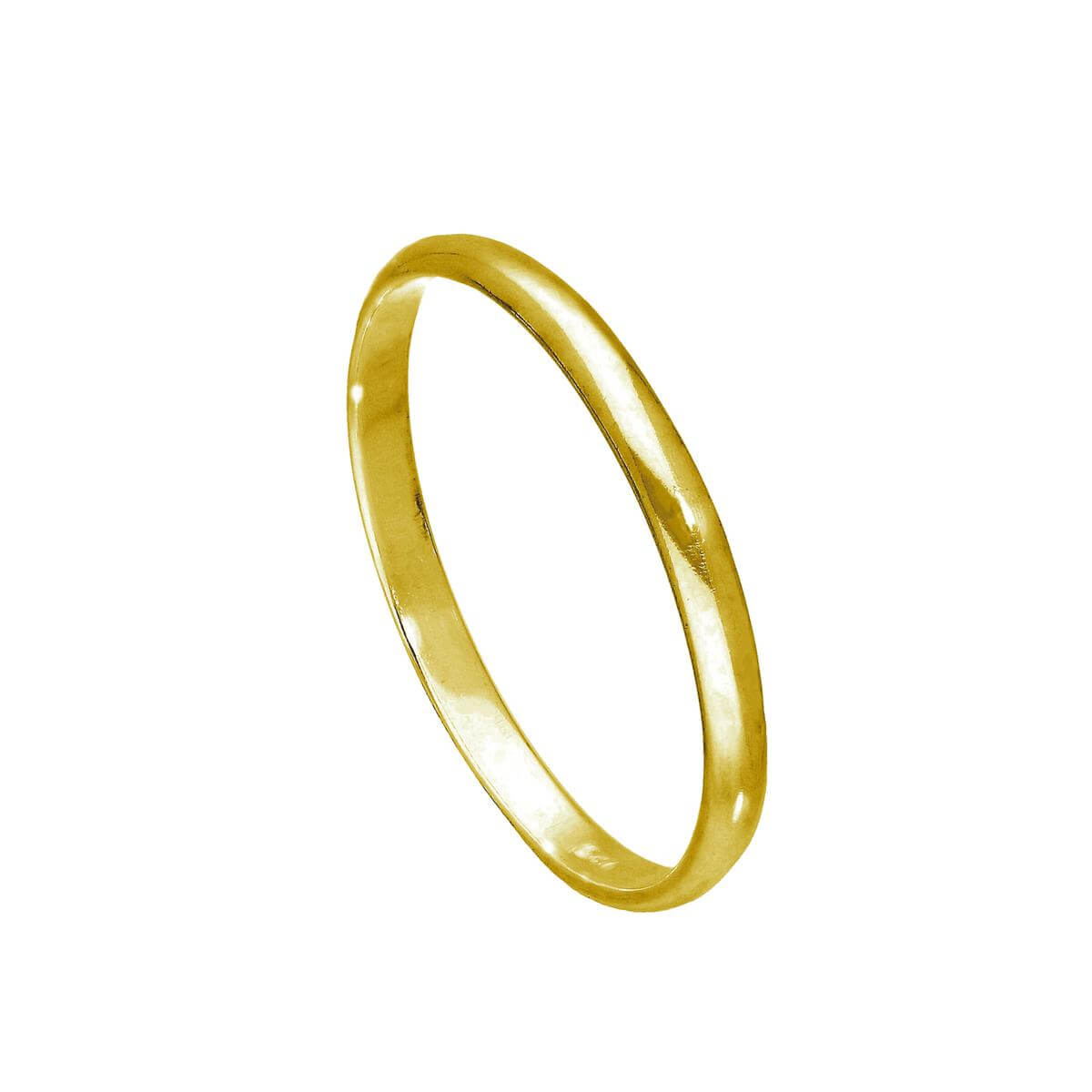 Gold Plated Sterling Silver 2mm D Shaped Wedding Band Ring
