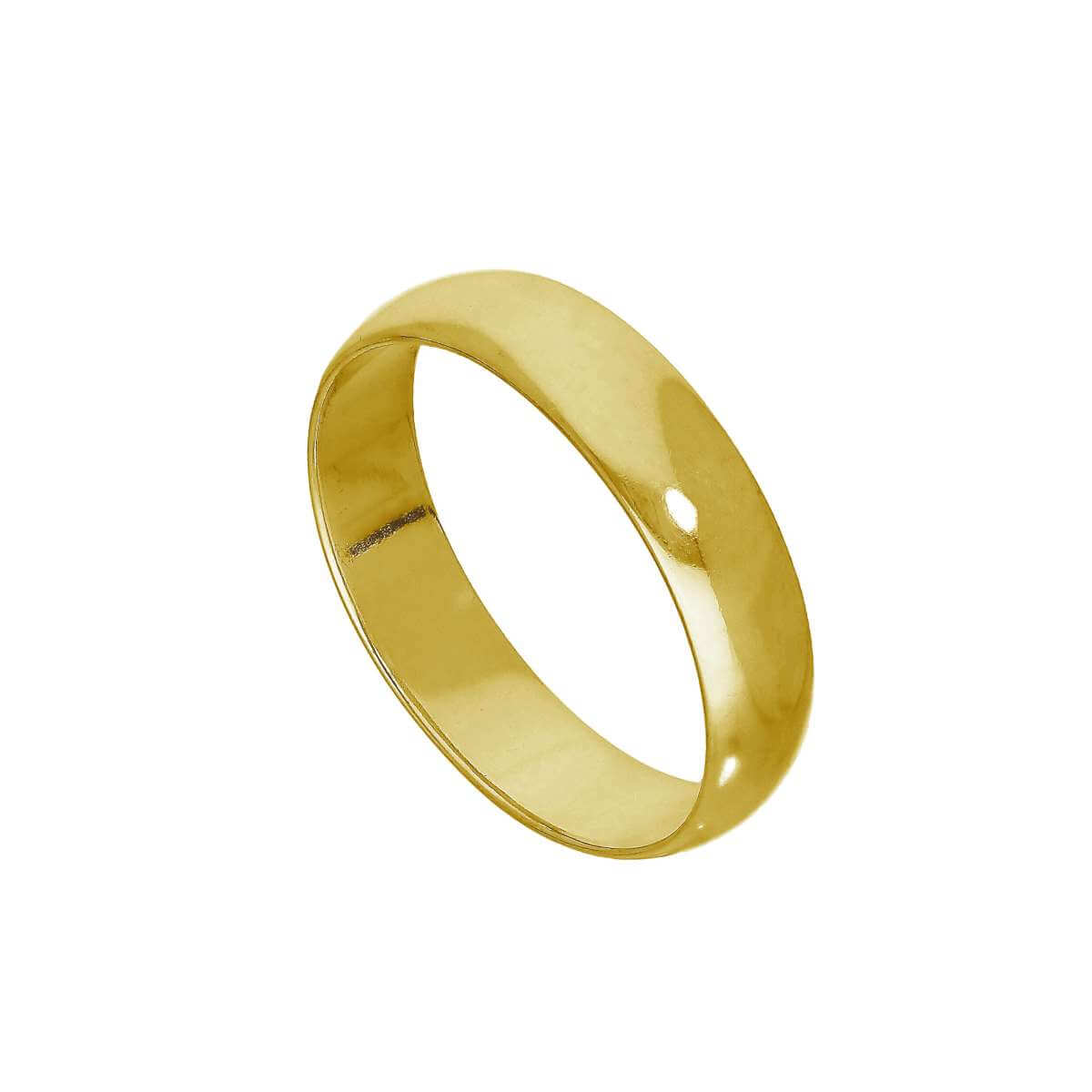 Yellow Gold Plated Sterling Silver 5mm D Shaped Wedding Band Ring Size (I - Z+5)