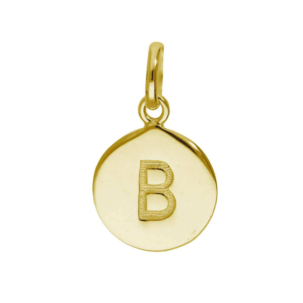 Gold Plated Sterling Silver Engravable Letter B Charm
