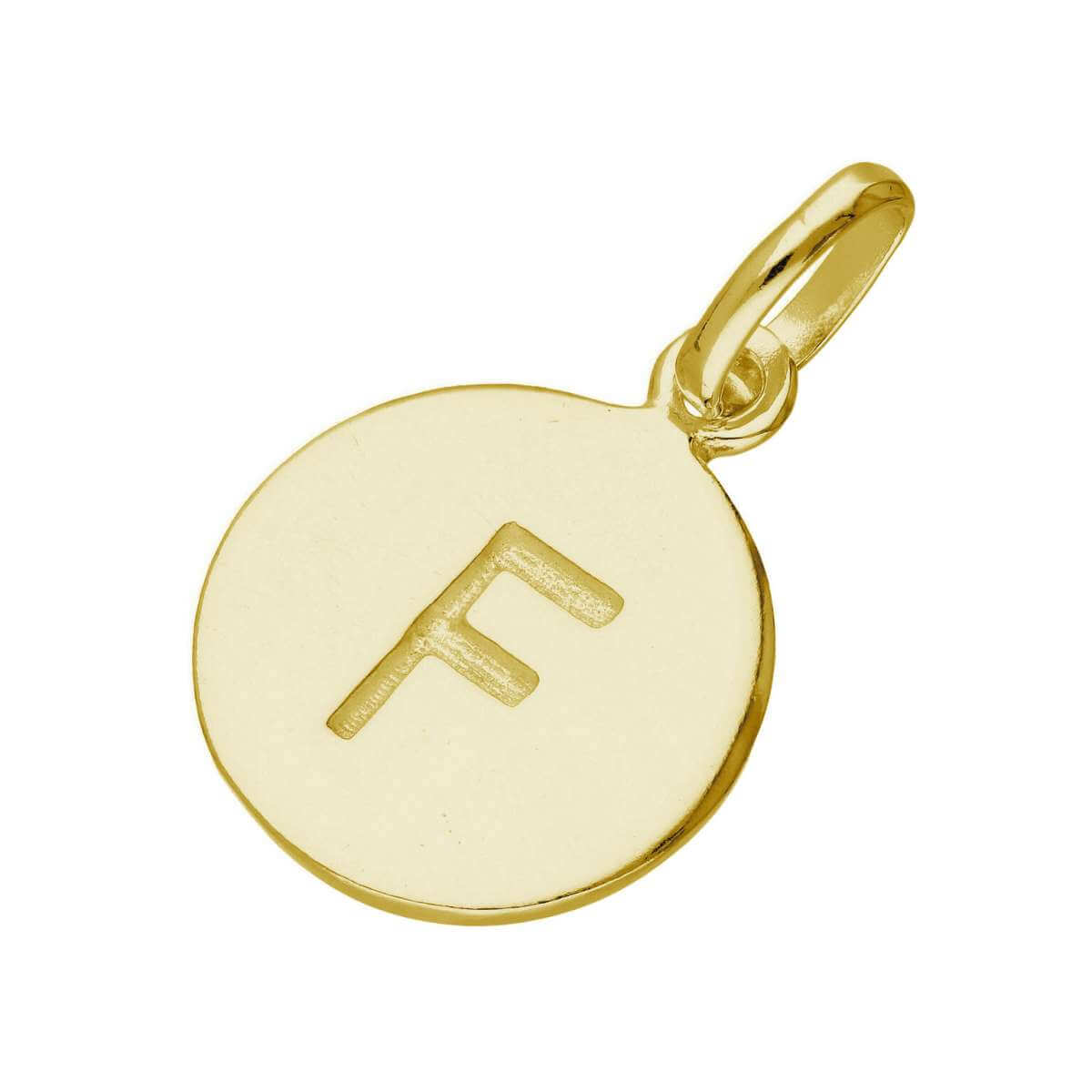 Gold Plated Sterling Silver Engravable Letter F Charm