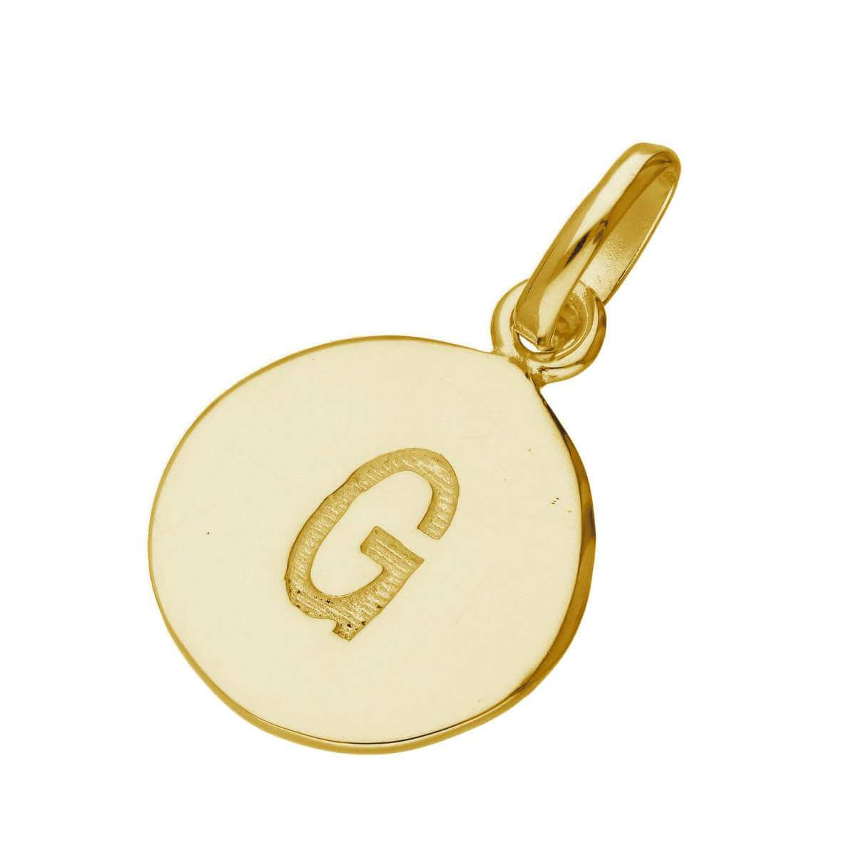 Gold Plated Sterling Silver Engravable Letter G Charm