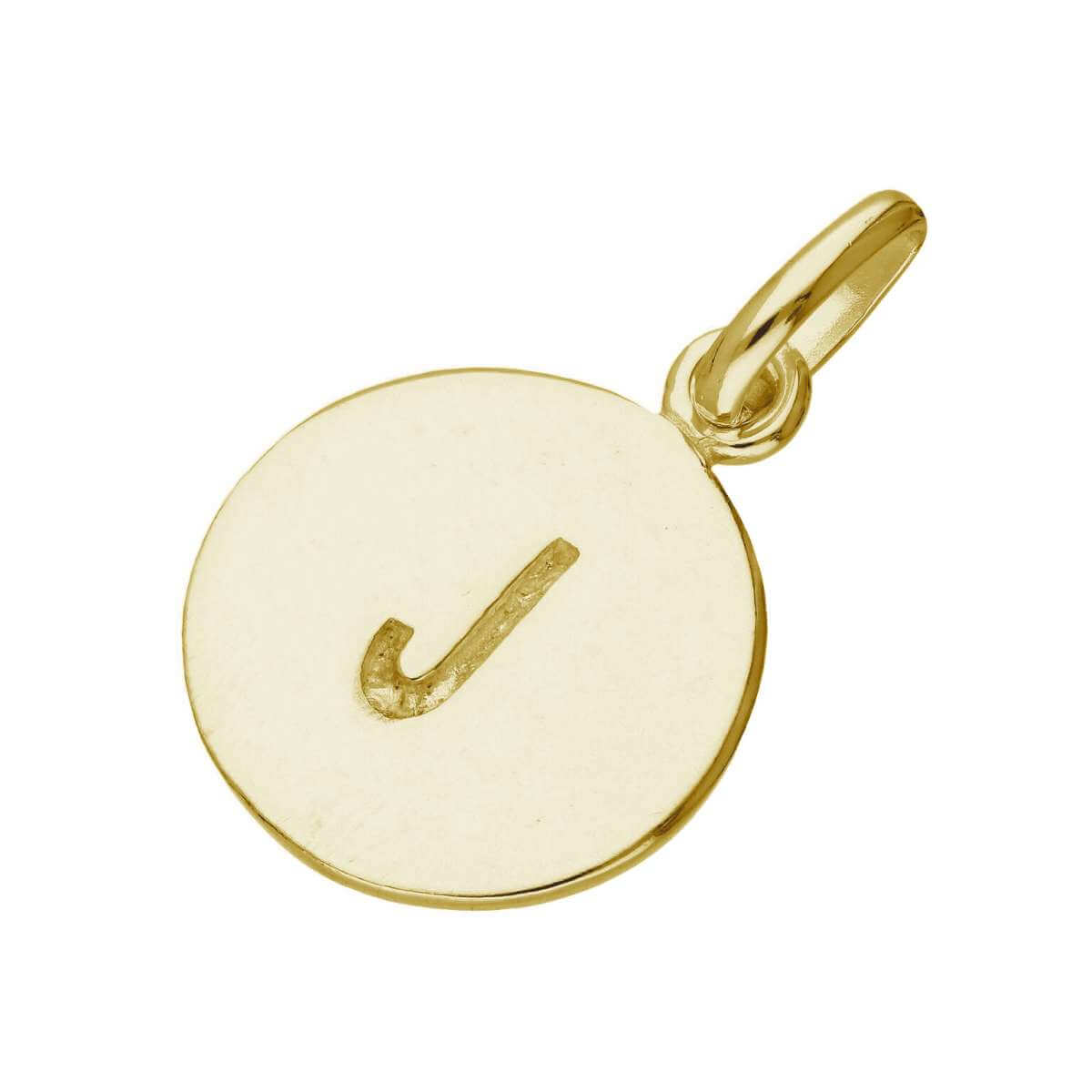 Gold Plated Sterling Silver Engravable Letter J Charm