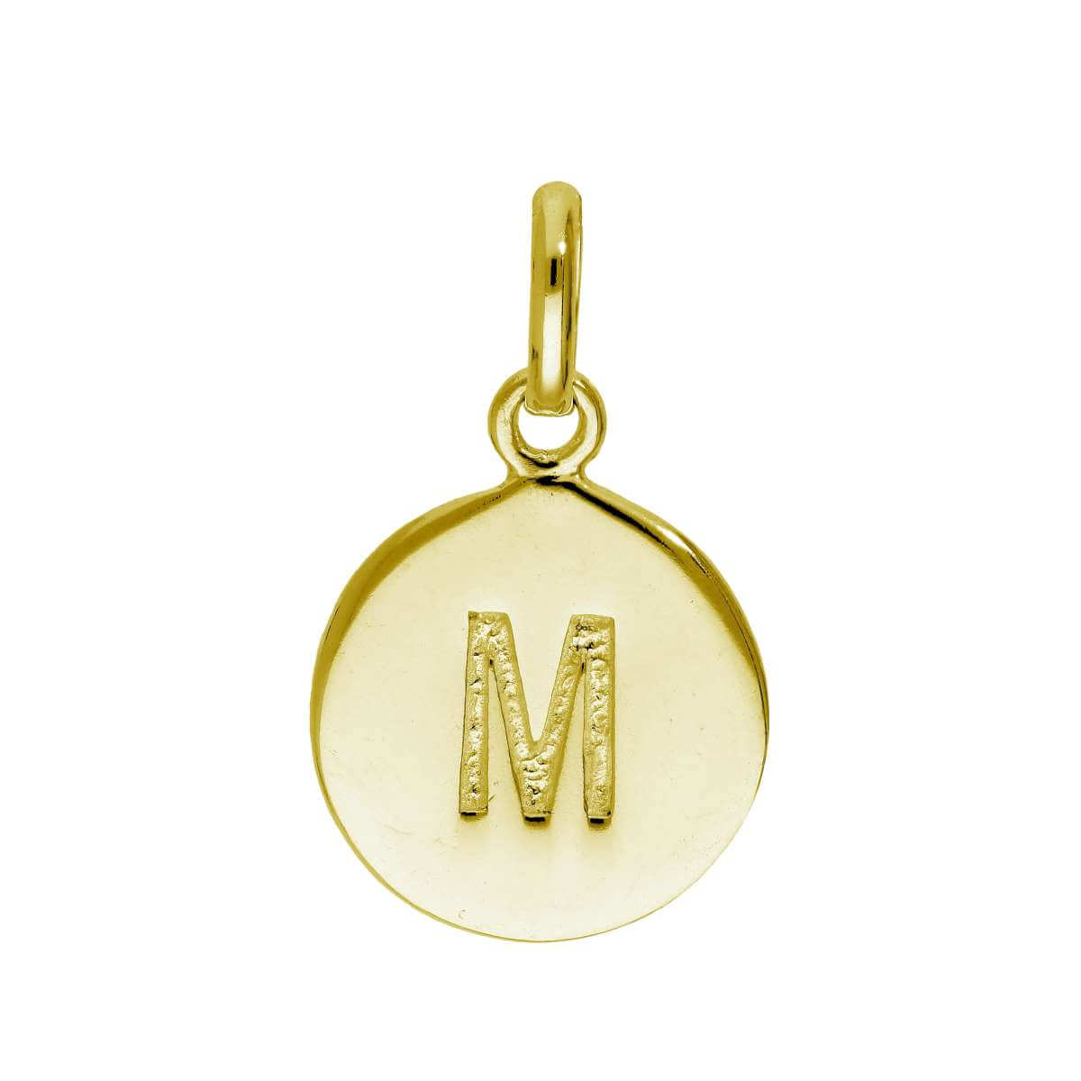 Gold Plated Sterling Silver Engravable Letter M Charm