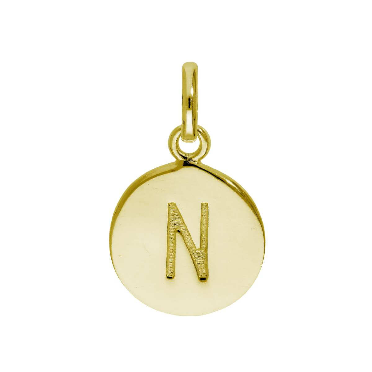 Gold Plated Sterling Silver Engravable Letter N Charm