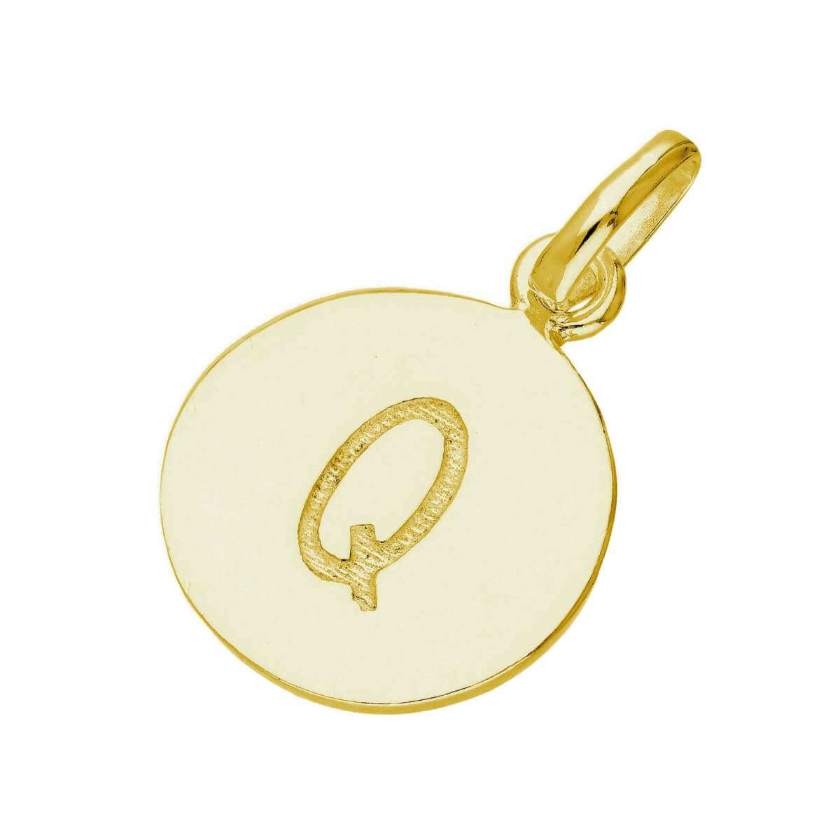 Gold Plated Sterling Silver Engravable Letter Q Charm