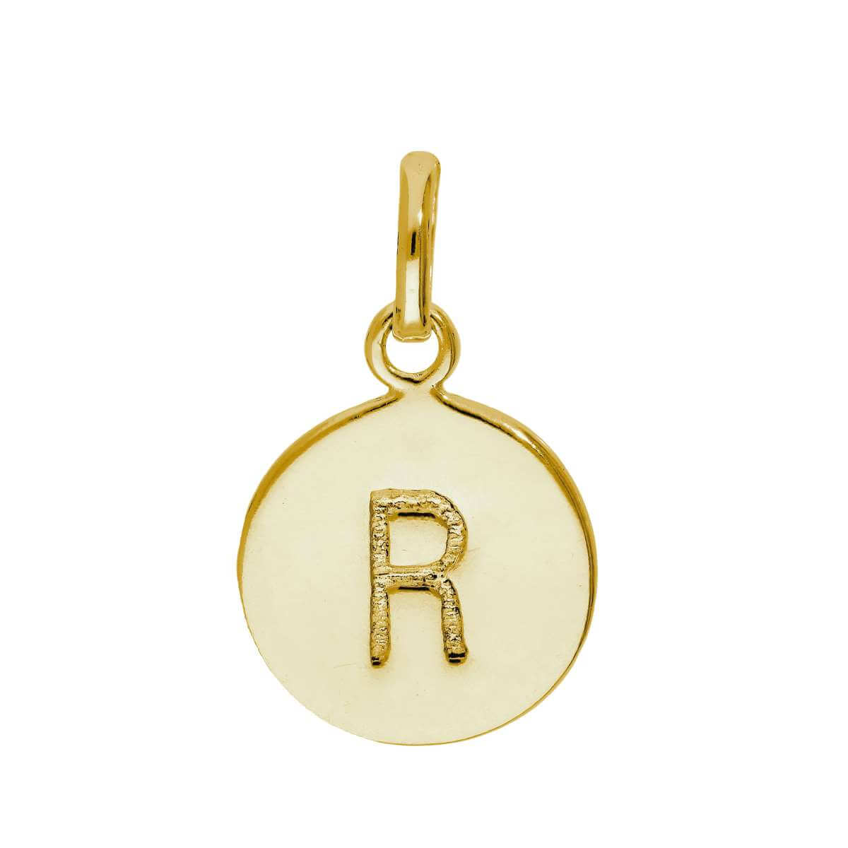Gold Plated Sterling Silver Engravable Letter R Charm