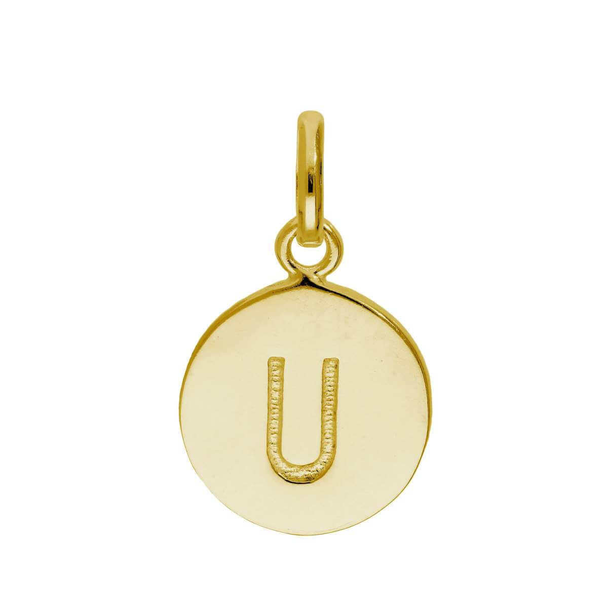 Gold Plated Sterling Silver Engravable Letter U Charm