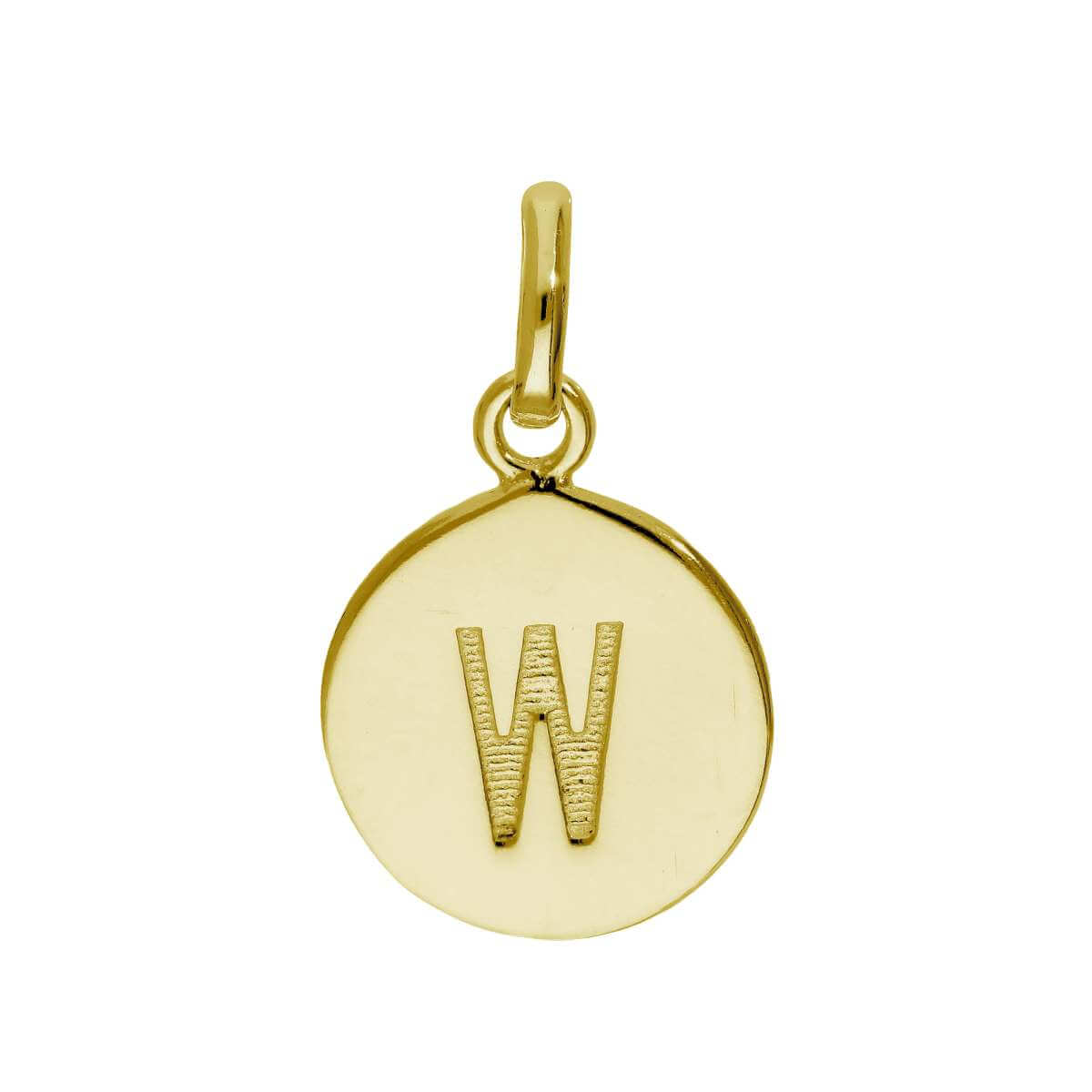 Gold Plated Sterling Silver Engravable Letter W Charm