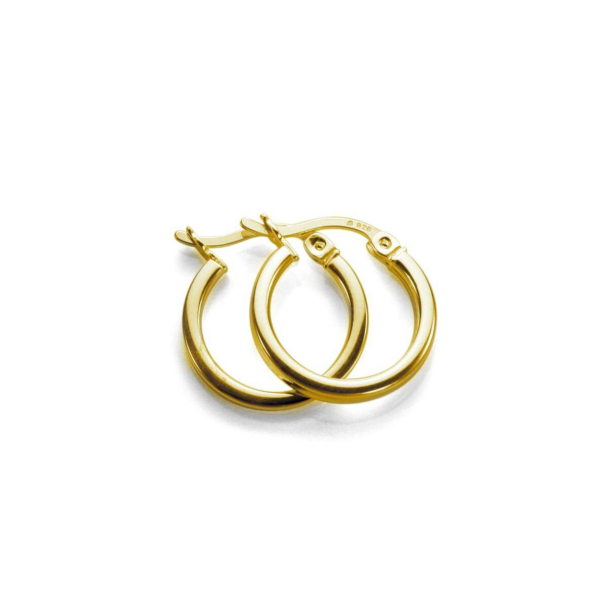 Gold Plated Sterling Silver 12mm Square Tube Hoop Earrings