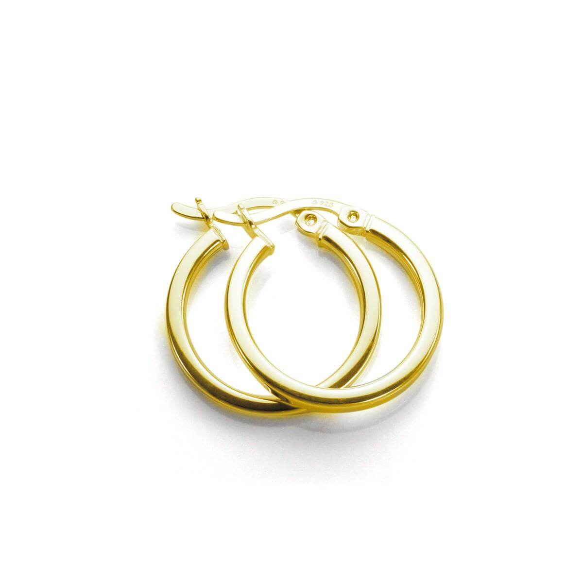 Gold Plated Sterling Silver 15mm Square Tube Hoop Earrings