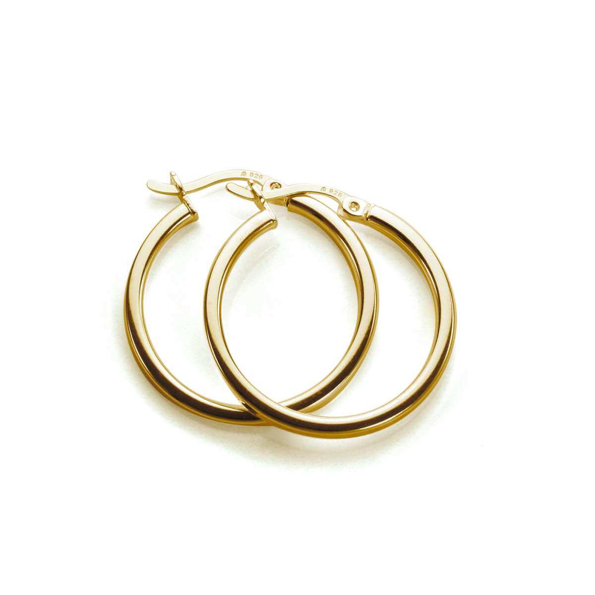 Gold Plated Sterling Silver 20mm Square Tube Hoop Earrings