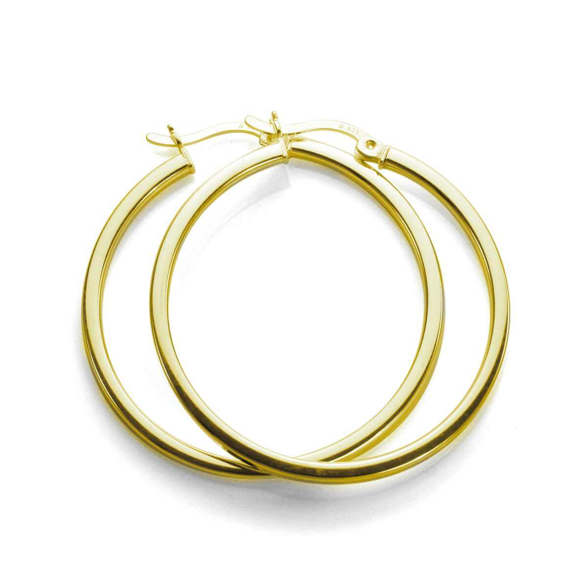 Gold Plated Sterling Silver 30mm Square Tube Hoop Earrings