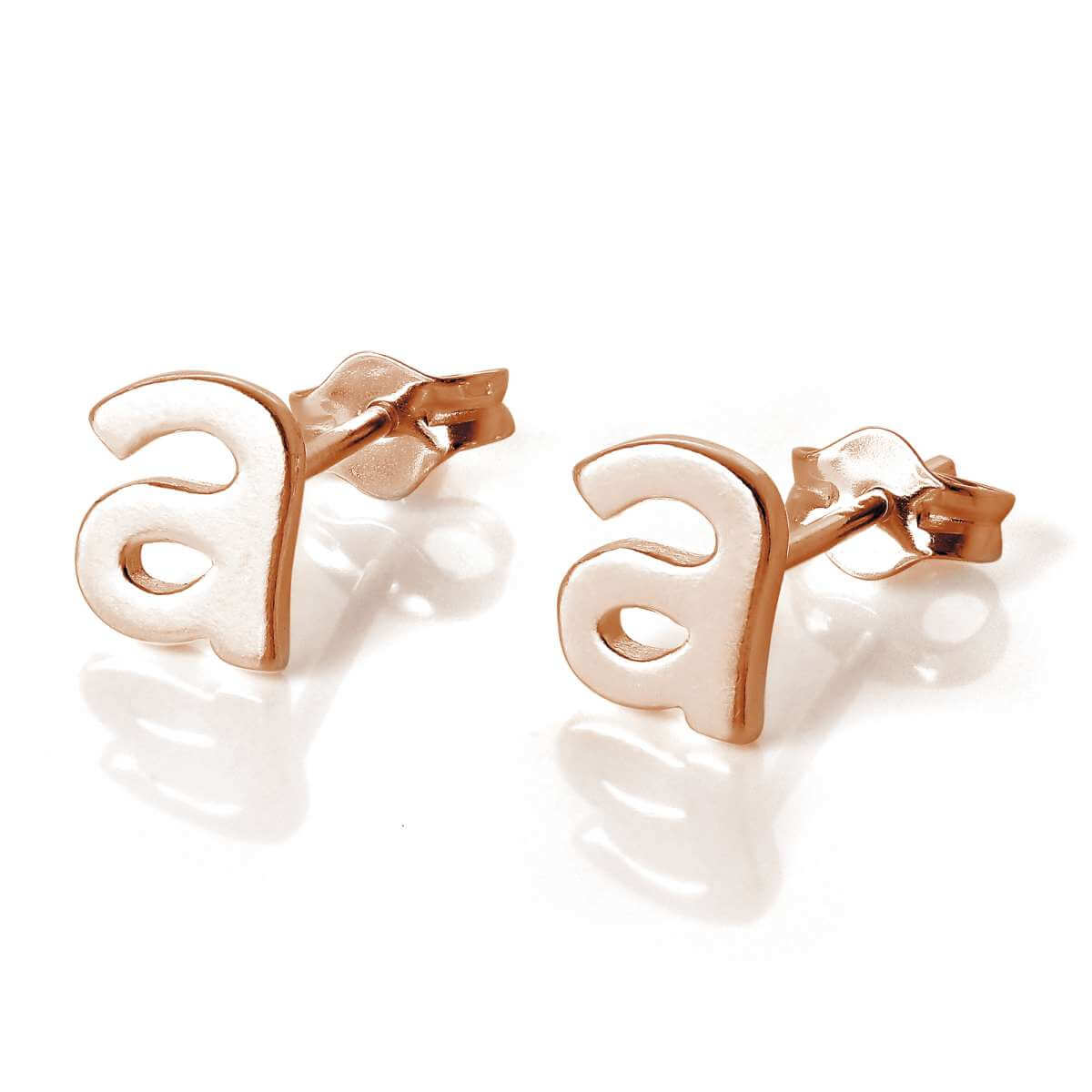 Rose Gold Plated Sterling Silver Letter A Stud Earrings