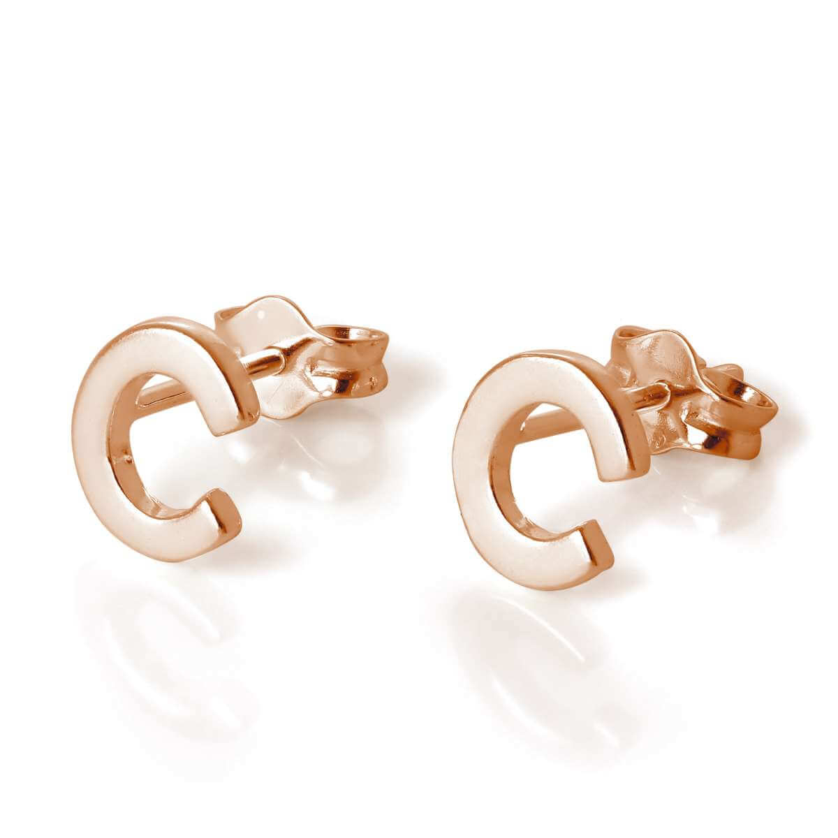 Rose Gold Plated Sterling Silver Letter C Stud Earrings