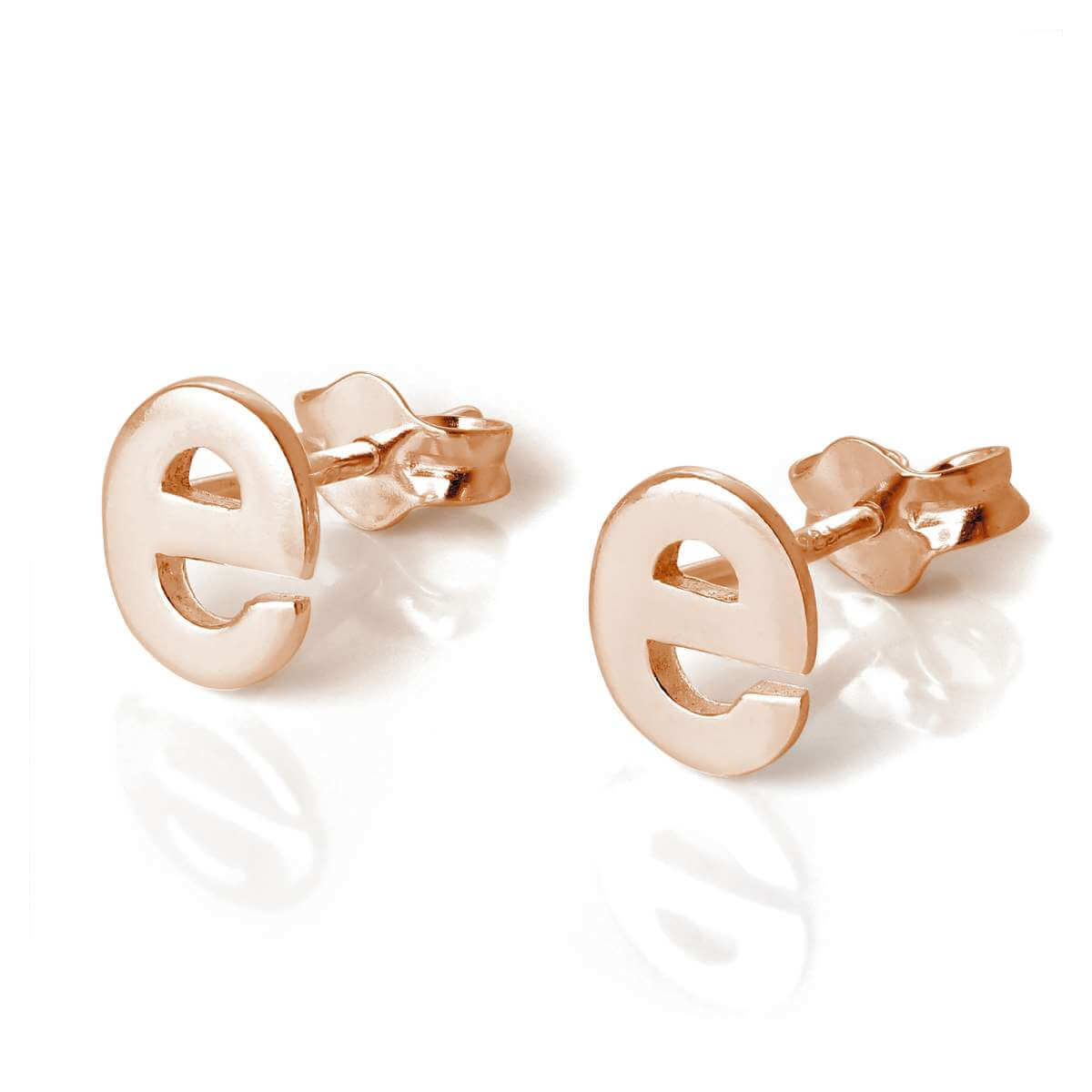 Rose Gold Plated Sterling Silver Letter E Stud Earrings