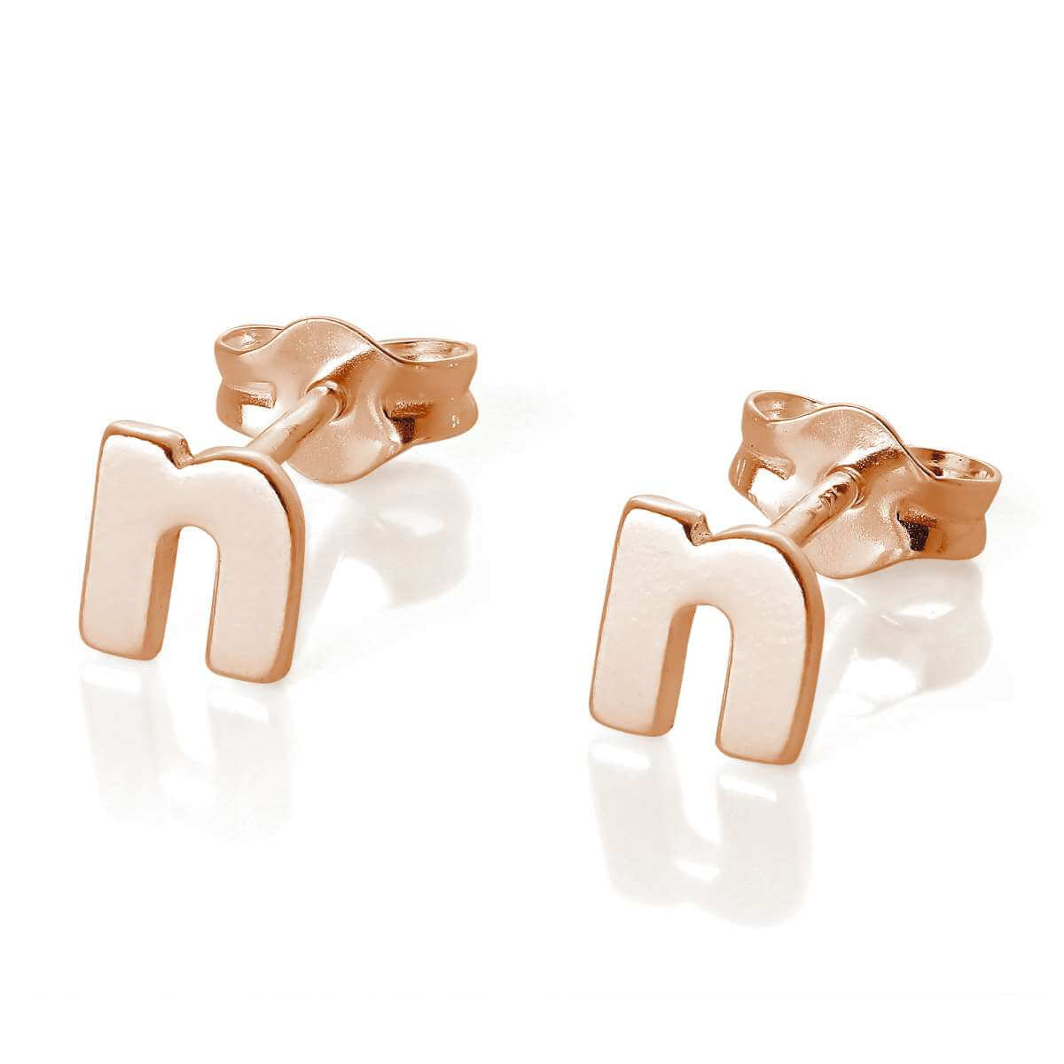 Rose Gold Plated Sterling Silver Letter N Stud Earrings