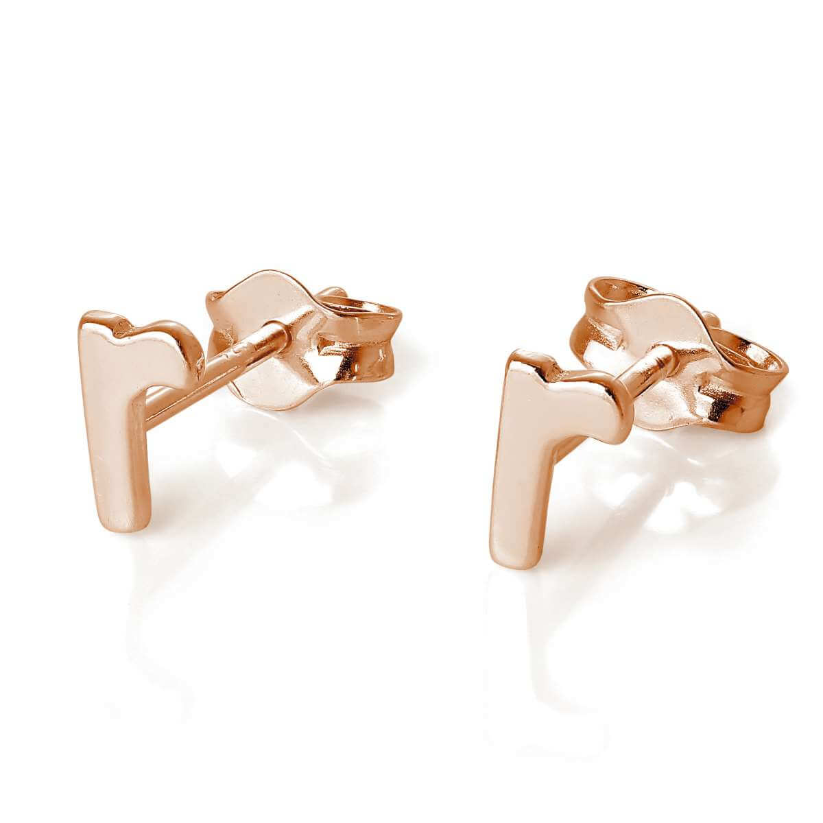 Rose Gold Plated Sterling Silver Letter R Stud Earrings