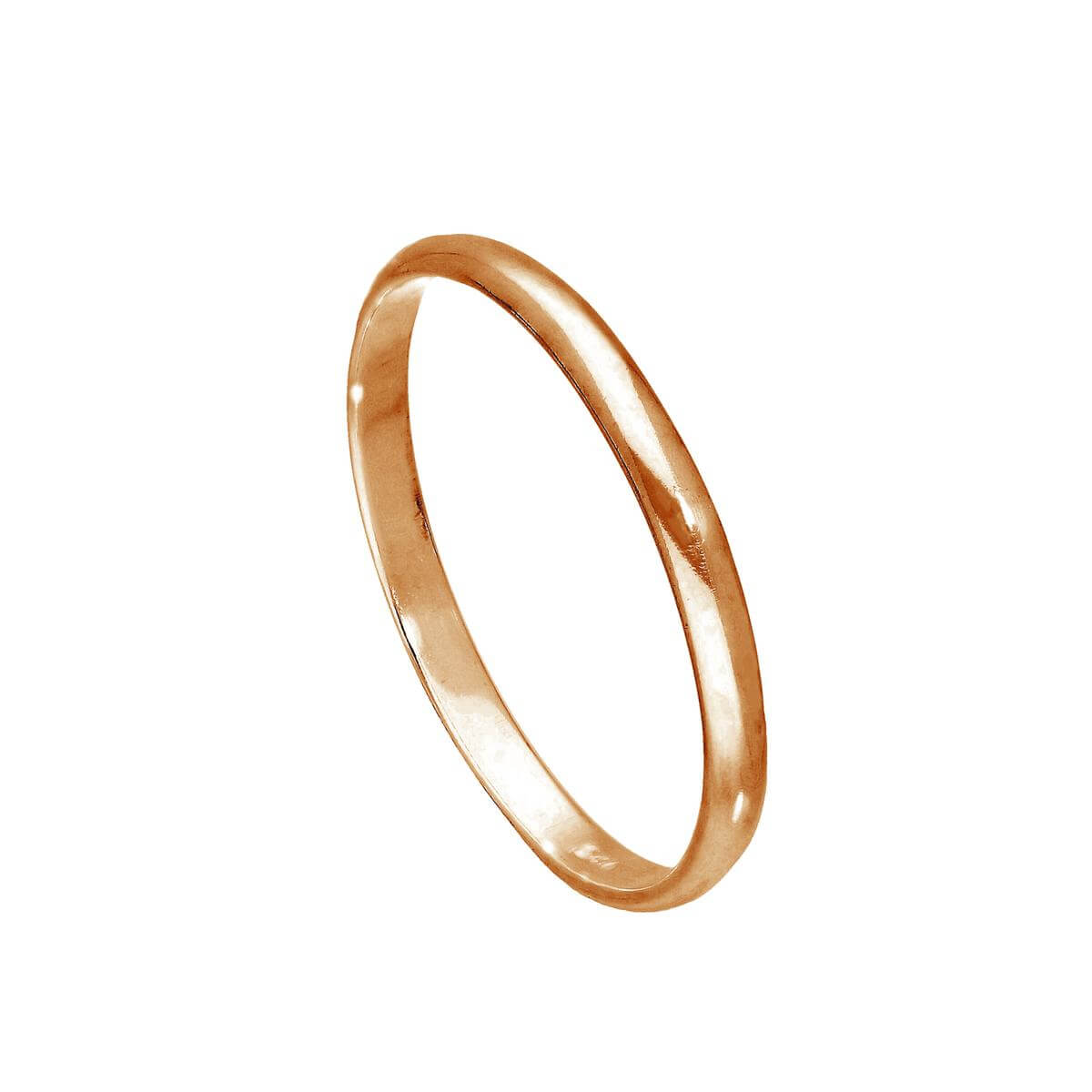 Rose Gold Plated Sterling Silver 2mm Wedding Band Ring Sizes E-W