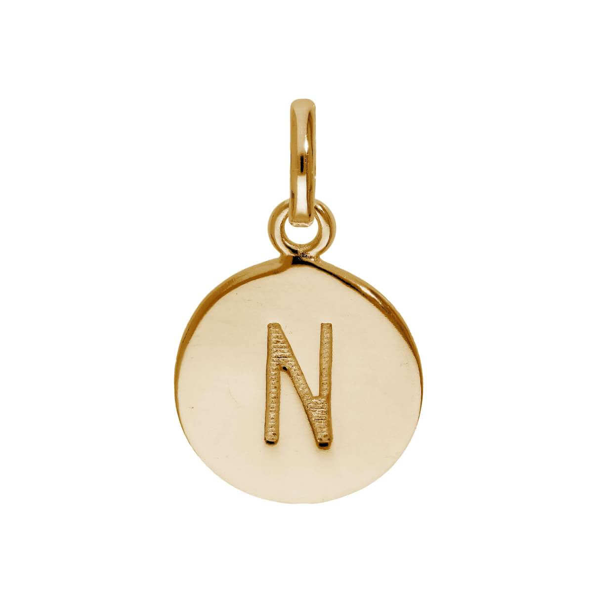 Rose Gold Plated Sterling Silver Engravable Letter N Charm