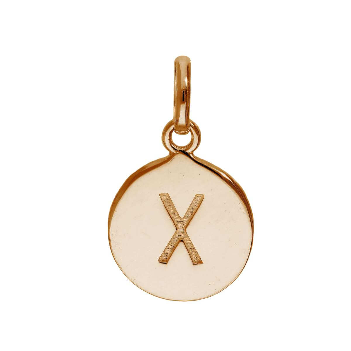 Rose Gold Plated Sterling Silver Engravable Letter X Charm
