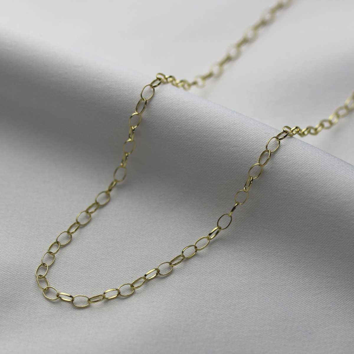 9ct Gold 2.65mm Oval Belcher Chain Necklace 18 - 22 inches