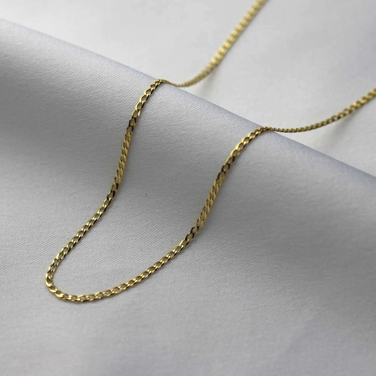 9ct Gold 1.3mm Faceted Flat Curb Chain Necklace 18 - 24 Inches